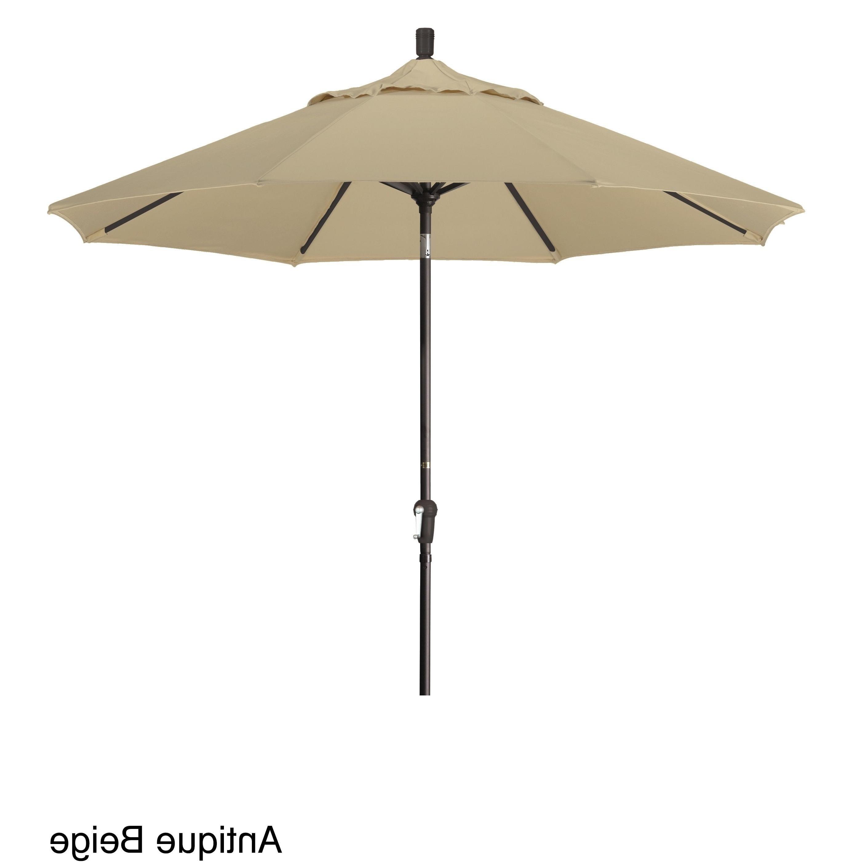 Sunbrella Teak Umbrellas Inside Most Current California Umbrella 9' Round Aluminum Crank Open Auto Tlit Market (View 15 of 20)