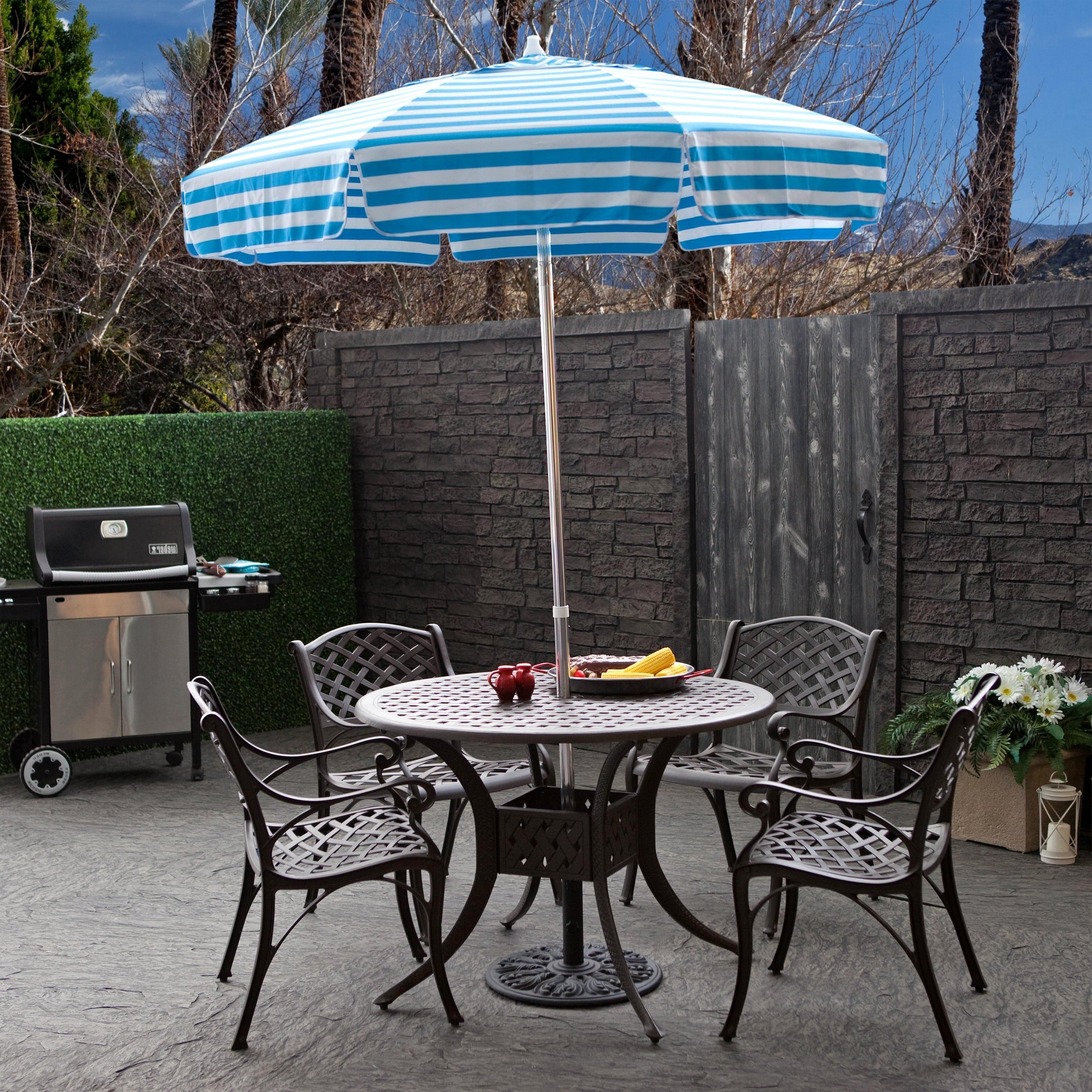 Tips: Best Frontgate Umbrellas With Sunbrella Striped Patio Umbrella Pertaining To Well Known Sunbrella Teak Umbrellas (Gallery 14 of 20)