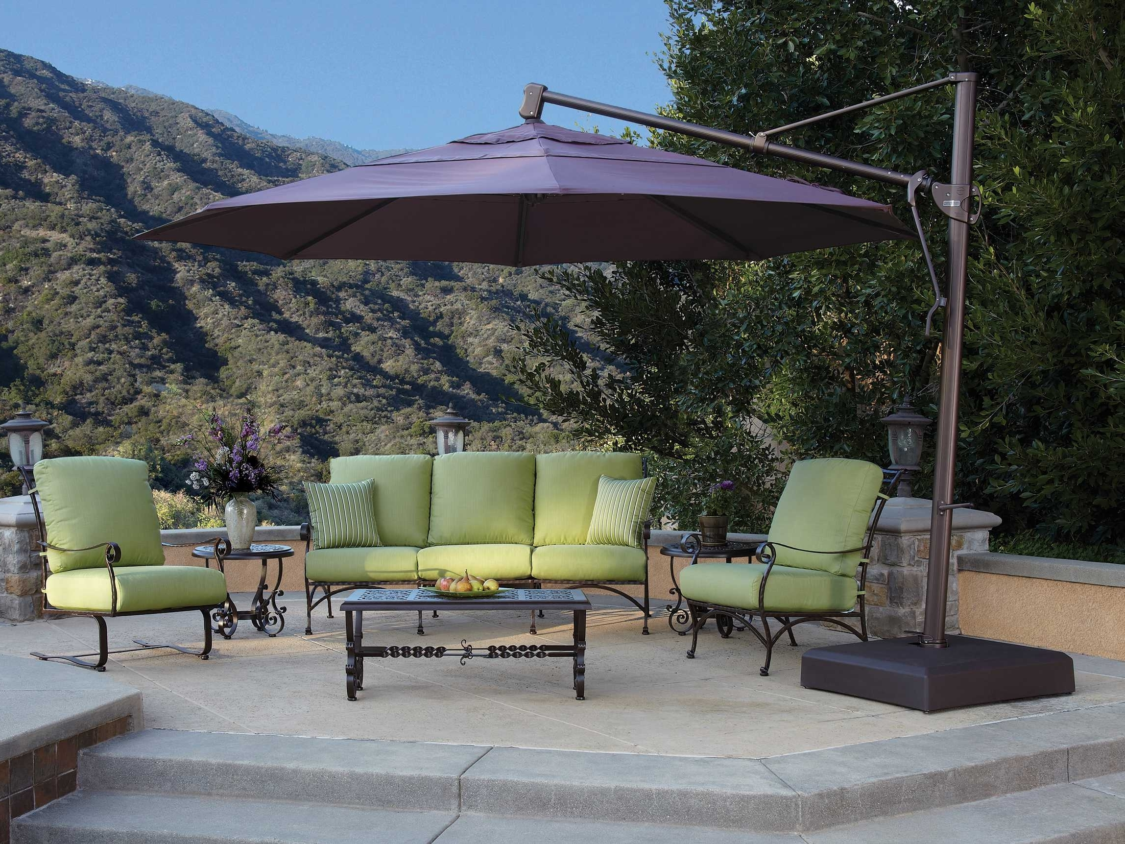 Treasure Garden Cantilever Aluminum 13 Foot Wide Crank Lift Tilt Within Famous Cantilever Patio Umbrellas (View 16 of 20)
