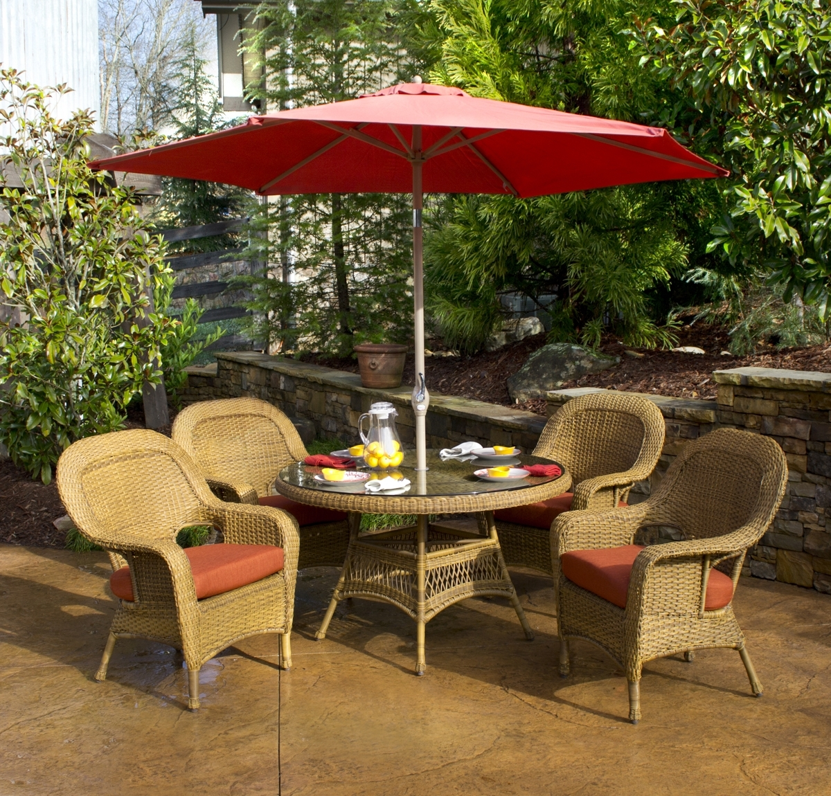 Trendy Classic Outdoor Dining Patio Ideas With White Painted Iron Red Within Patio Dining Umbrellas (View 20 of 20)