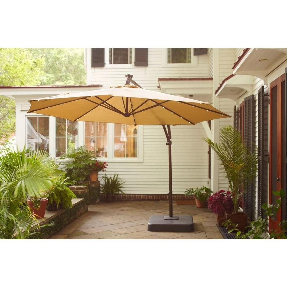 Trendy Hampton Bay Patio Umbrellas Regarding Smart Offset Led Patio Umbrella Plus Home Depot Hampton Bay Offset (Gallery 13 of 20)