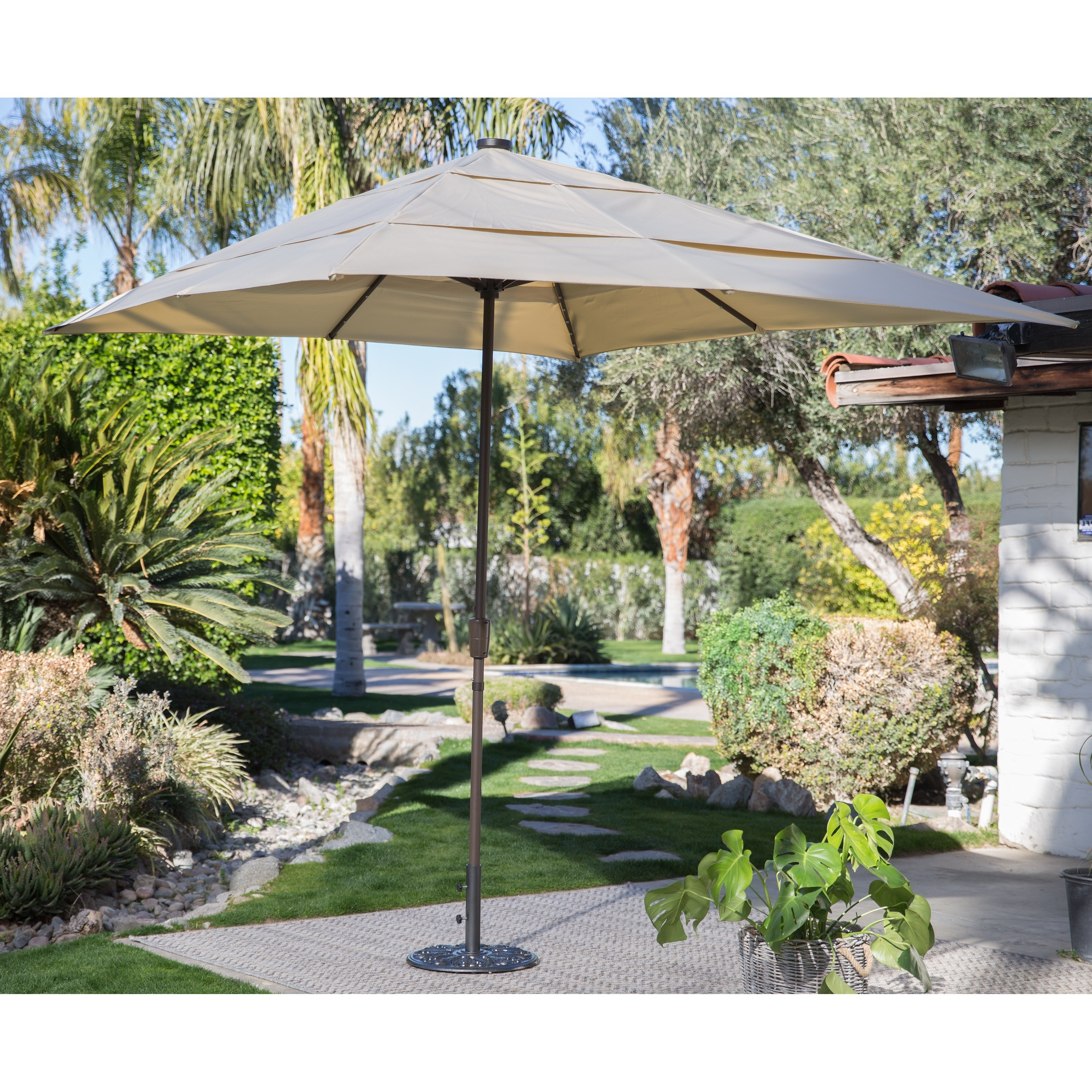 Trendy Lighted Umbrellas For Patio For Coral Coast 8 X 11 Ft (View 19 of 20)