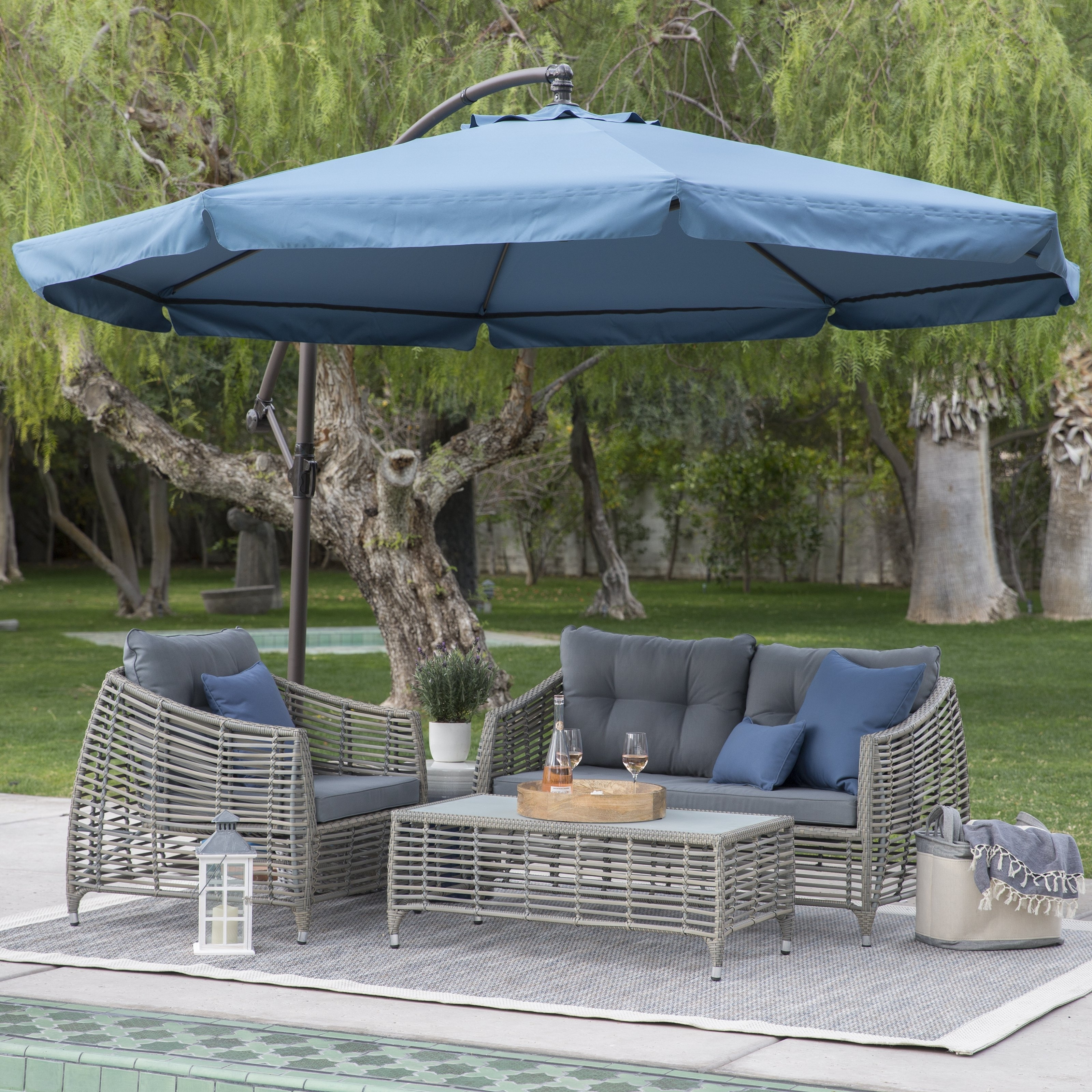 Trendy Offset Patio Umbrellas Pertaining To Coral Coast 11 Ft (View 20 of 20)