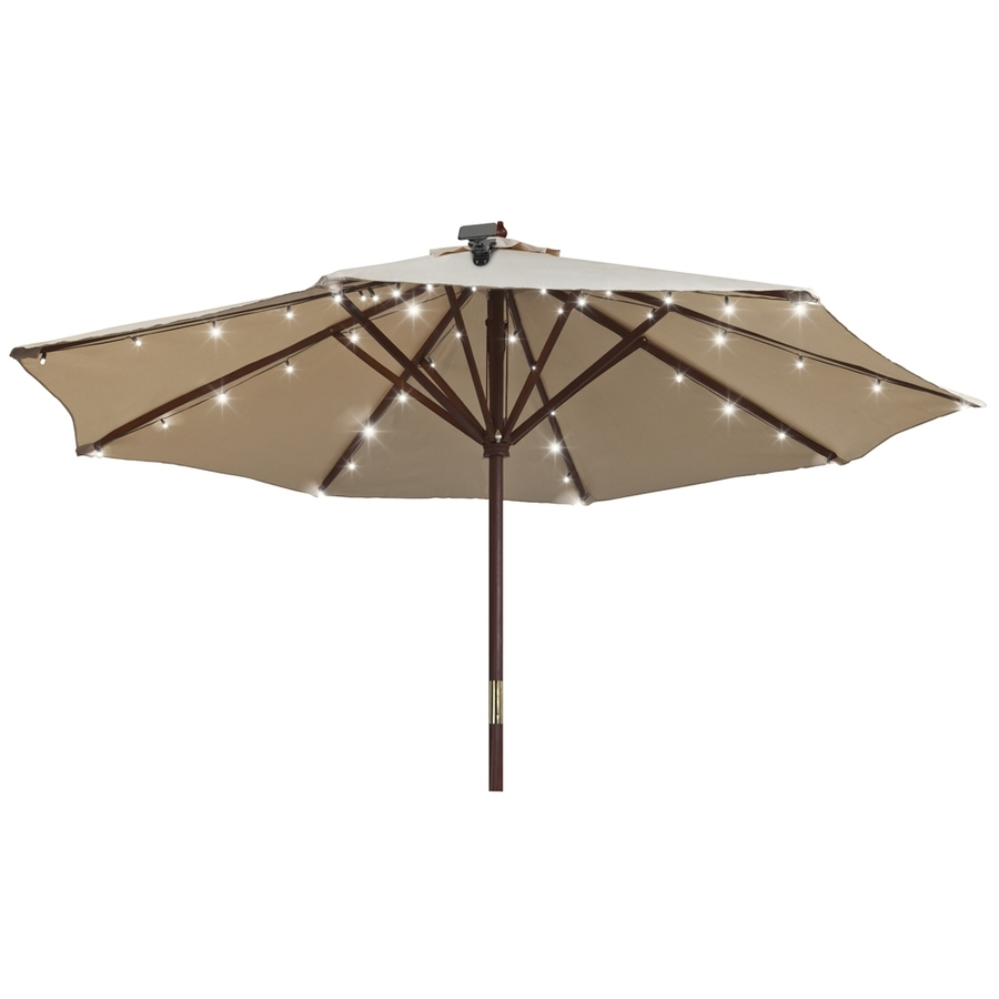Trendy Shop Gemmy 48 Light White Shade Led Solar Bulbs String Lights At Inside Patio Umbrellas With Solar Led Lights (View 14 of 20)