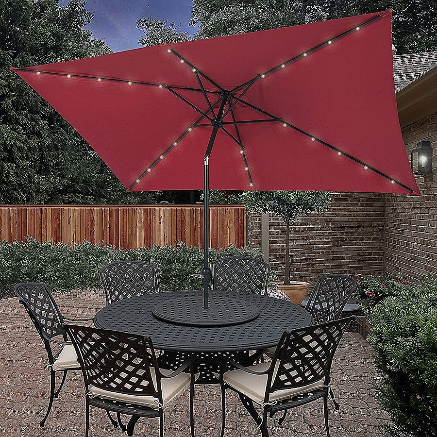 Trendy Strobe Umbrella Light: Unique Large Patio Umbrellas With Ligh Throughout Rectangle Patio Umbrellas (Gallery 10 of 20)