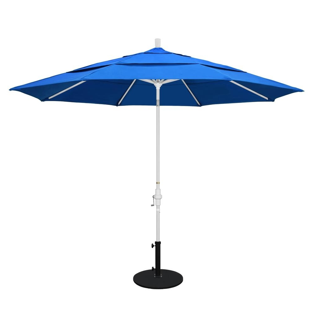Vented Patio Umbrellas Pertaining To Fashionable California Umbrella 11 Ft. Aluminum Collar Tilt Double Vented Patio (Gallery 1 of 20)
