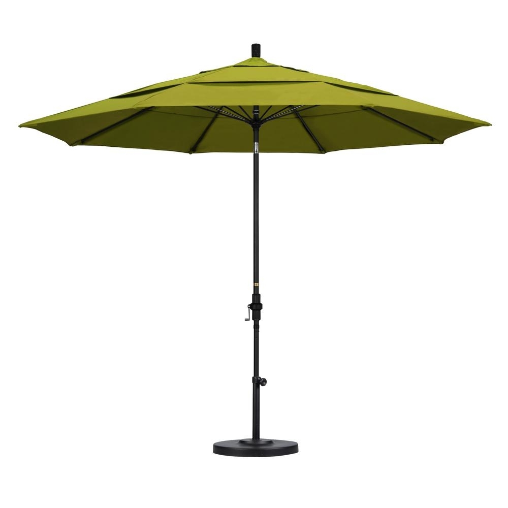 Vented Patio Umbrellas Pertaining To Widely Used California Umbrella 11 Ft. Fiberglass Collar Tilt Double Vented (Gallery 2 of 20)