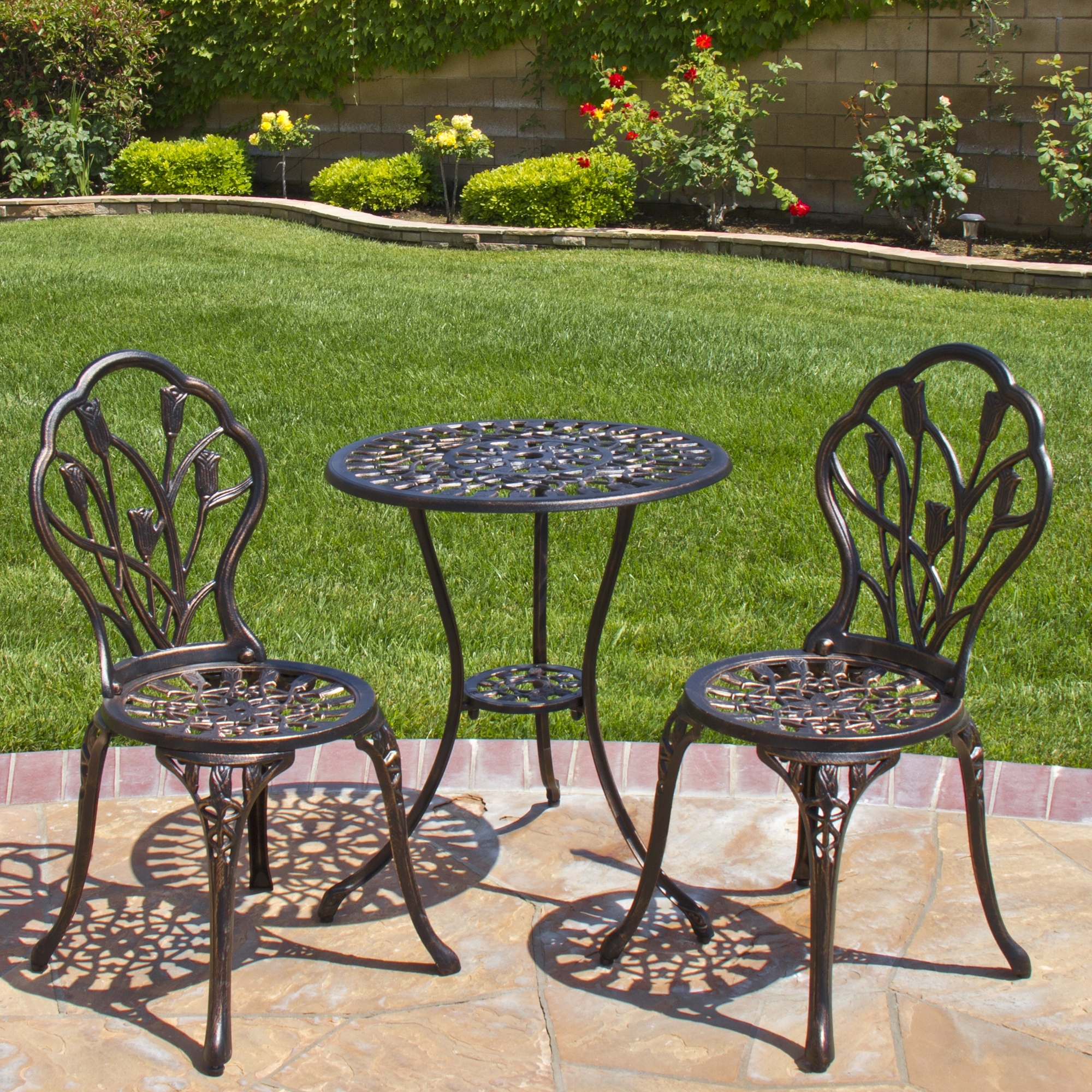 Vintage Patio Umbrellas For Sale With 2018 Best Choice Products Cast Aluminum Patio Bistro Furniture Set In (Gallery 19 of 20)