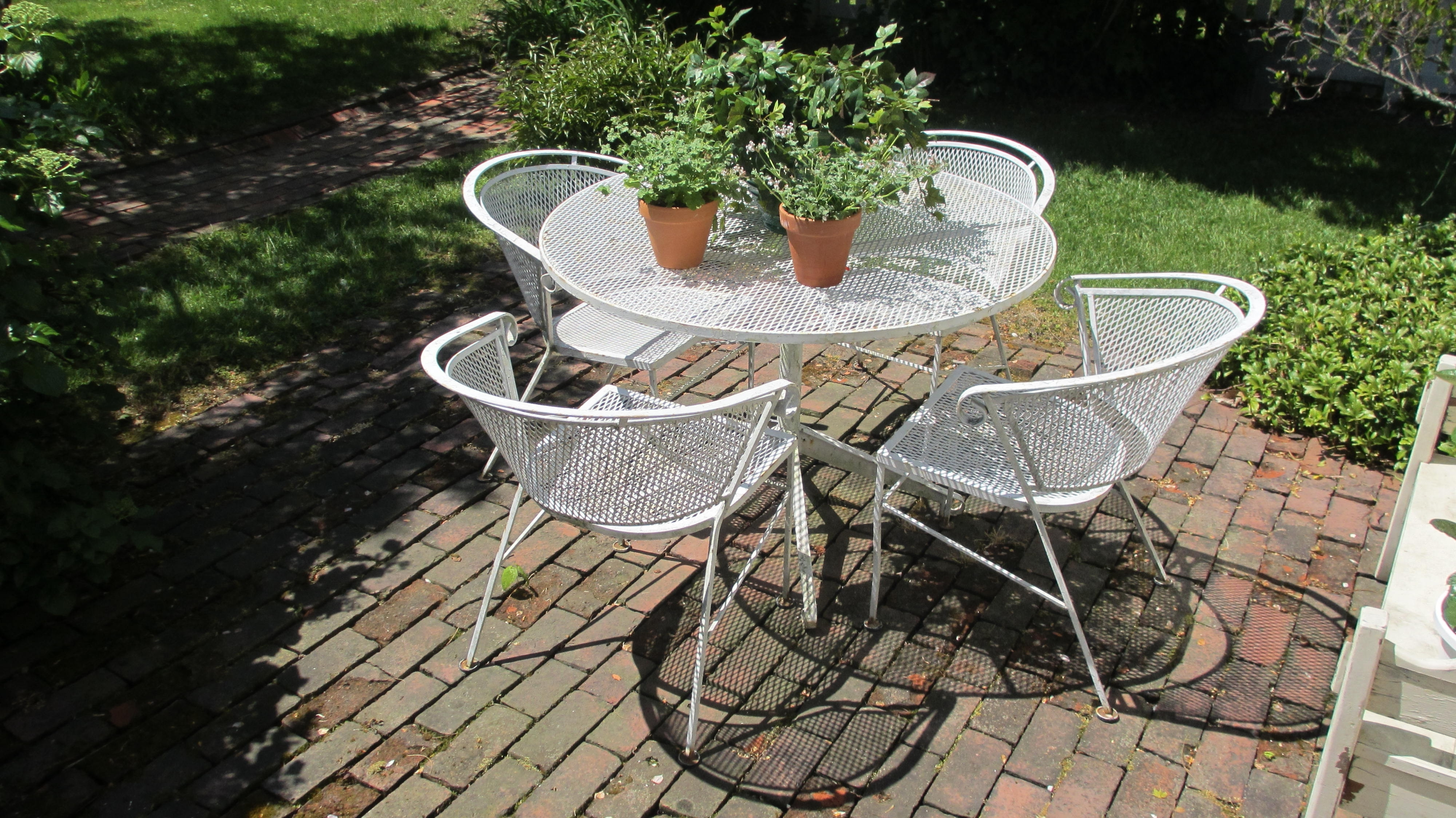 Vintage Patio Umbrellas For Sale With Regard To Most Recent Genuine Vintage Outdoor Wrought Iron Patio Furniture Set Vintage (View 6 of 20)