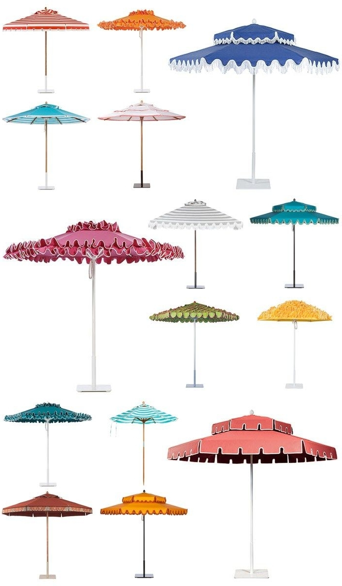 Vinyl Patio Umbrellas With Fringe With Well Liked Poolside Glamour A La Slim Aarons: Stylish Patio Umbrellas (View 16 of 20)