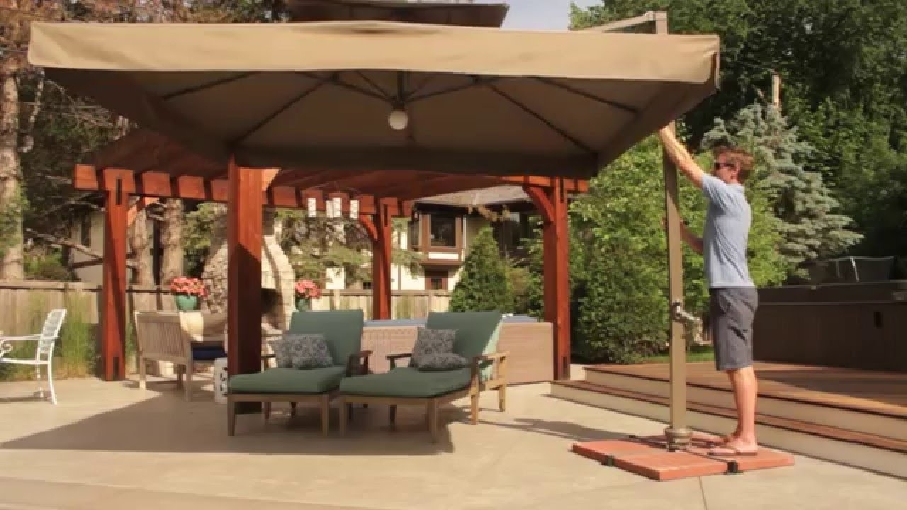 Vrienden Offset Cantilever Umbrella With Lights – Youtube Pertaining To Popular Deluxe Patio Umbrellas (Gallery 1 of 20)