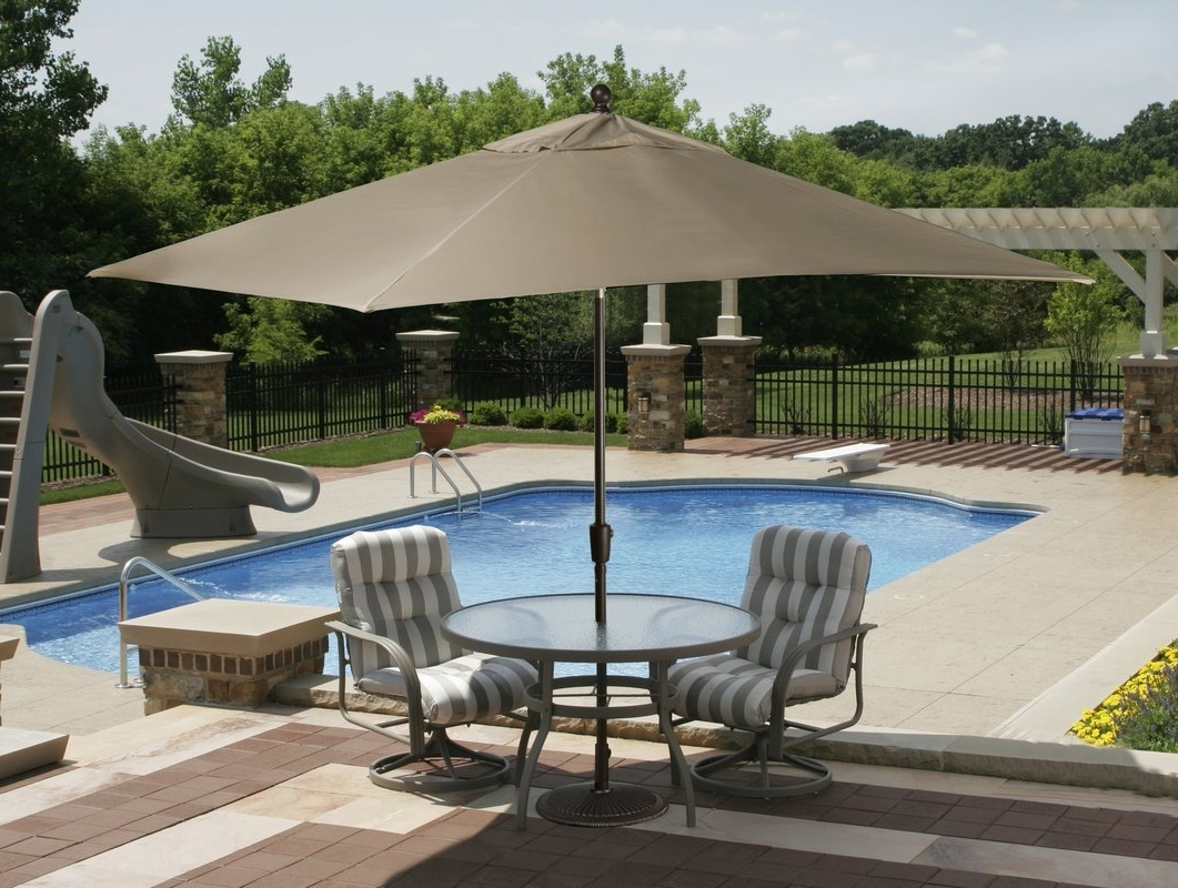 Wayfair Patio Umbrellas Within Most Up To Date Home Decor: Perfect Rectangular Outdoor Umbrella & Patio Umbrellas (View 19 of 20)
