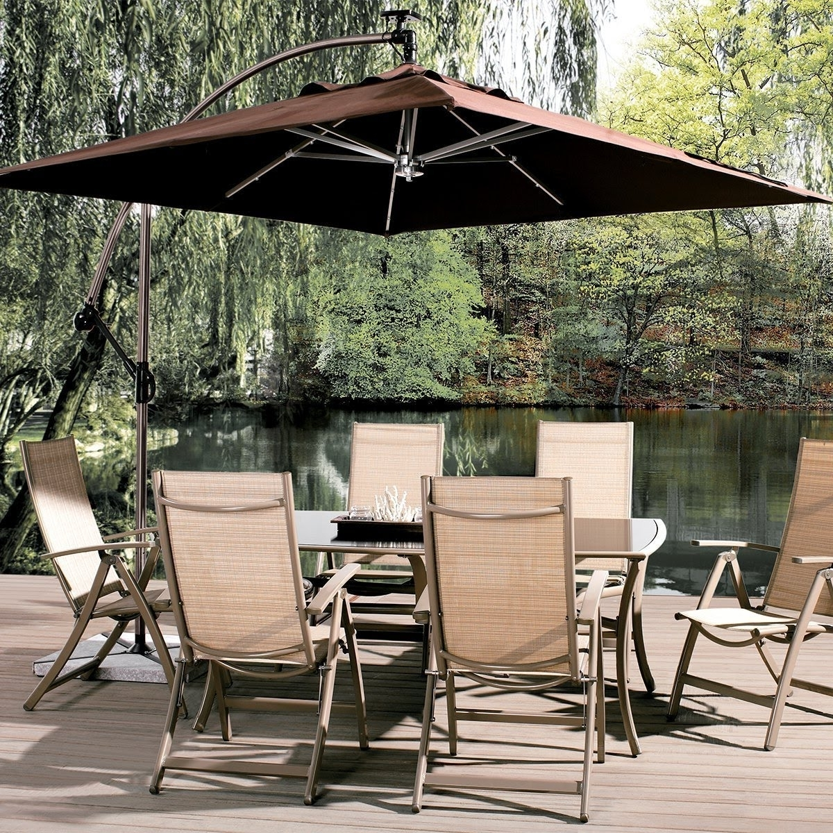 Well Known Abba Patio 8 Ft Square Outdoor Solar Powered 32 Led Cantilever Crank Within Square Cantilever Patio Umbrellas (View 13 of 20)