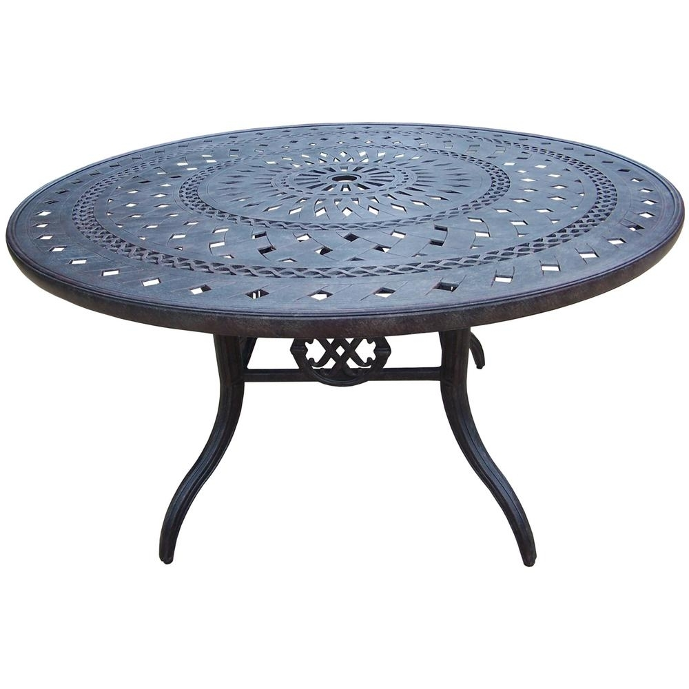 Well Known Aluminum Round Outdoor Patio Dining Table Hd7805 T54 Mc – The Home Depot For Jewel Patio Umbrellas (View 19 of 20)