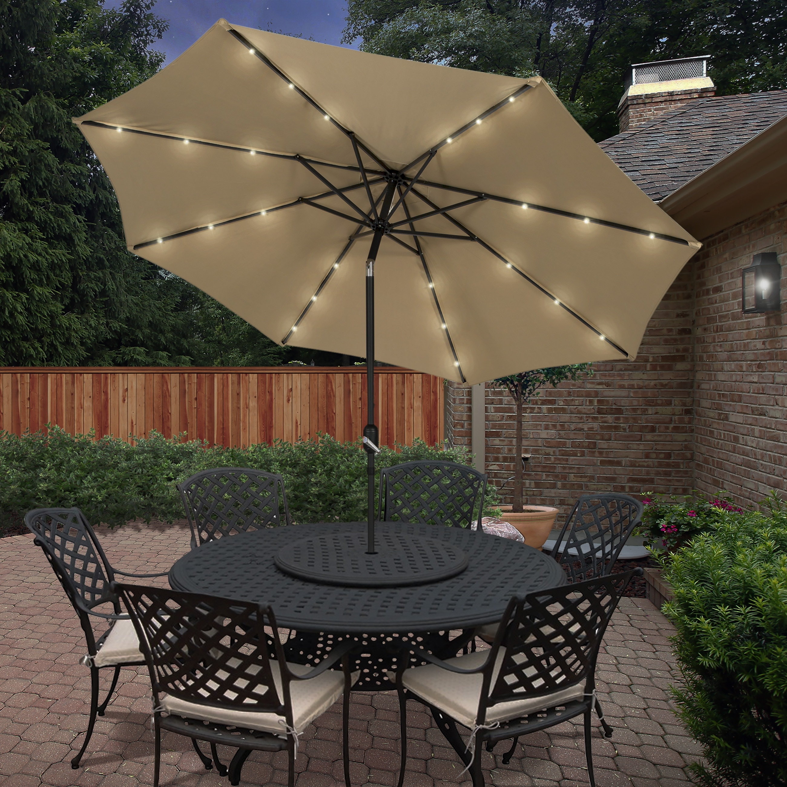 Well Known Best Choice Products 10' Deluxe Solar Led Lighted Patio Umbrella With Regard To Lighted Umbrellas For Patio (View 6 of 20)