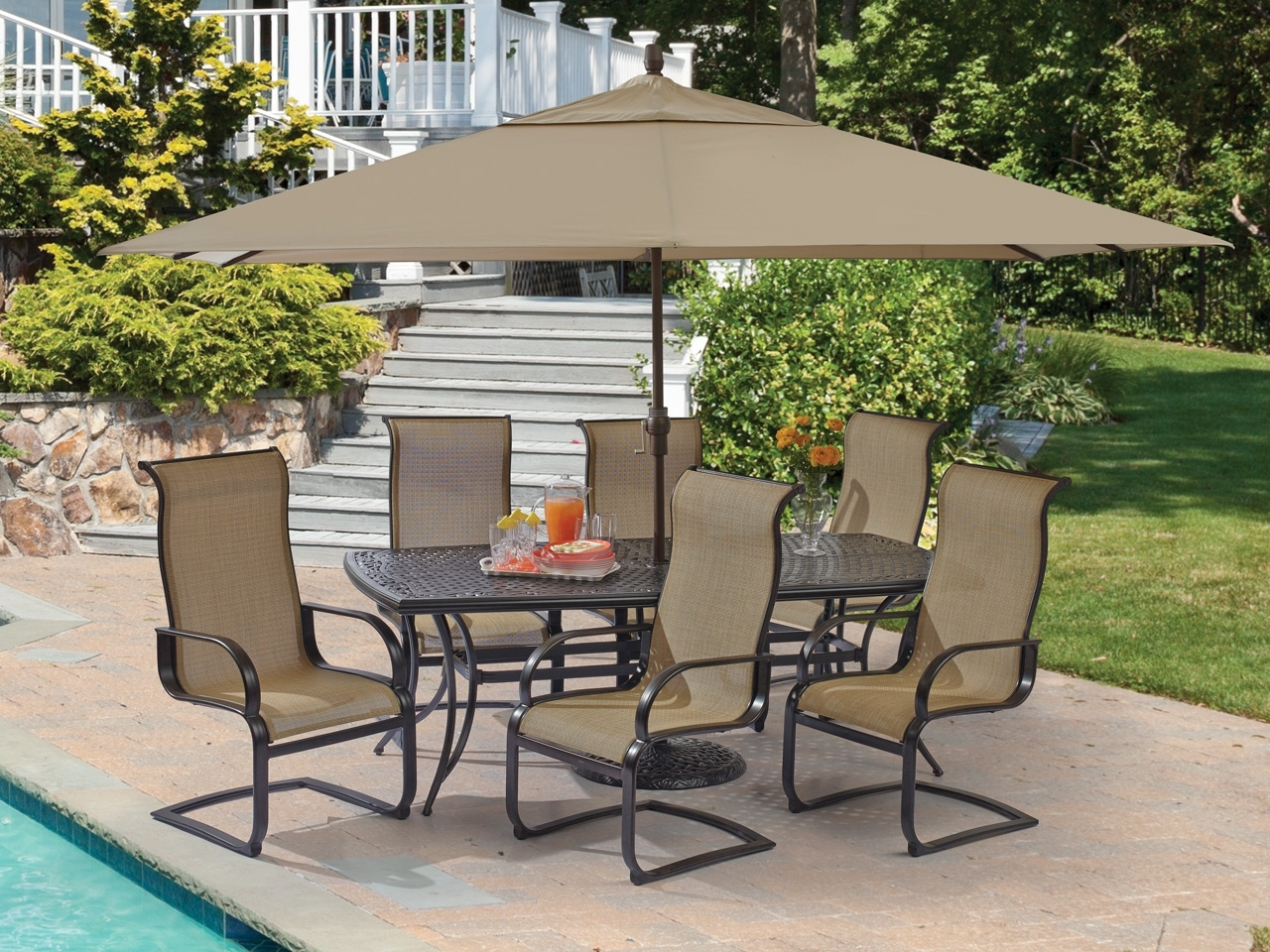 Well Known Big Lots Patio Umbrellas In 8 Piece Patio Dining Set Furniture Walmart Lowes Big Lots Outdoor (View 18 of 20)
