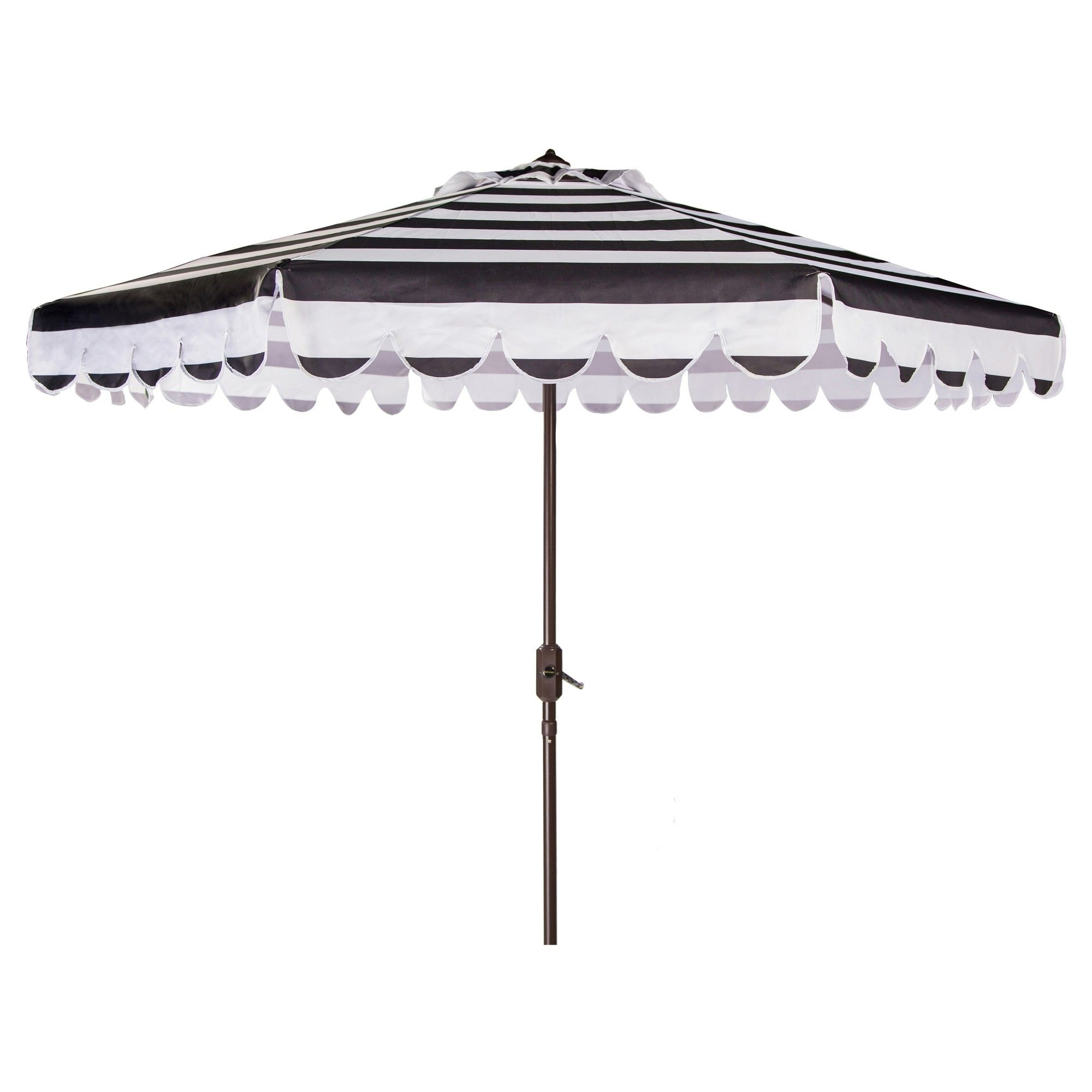 Well Known Black And White Striped Patio Umbrellas Within Maui Single Scallop Striped 9' Crank Auto Tilt Umbrella – Black (View 3 of 20)