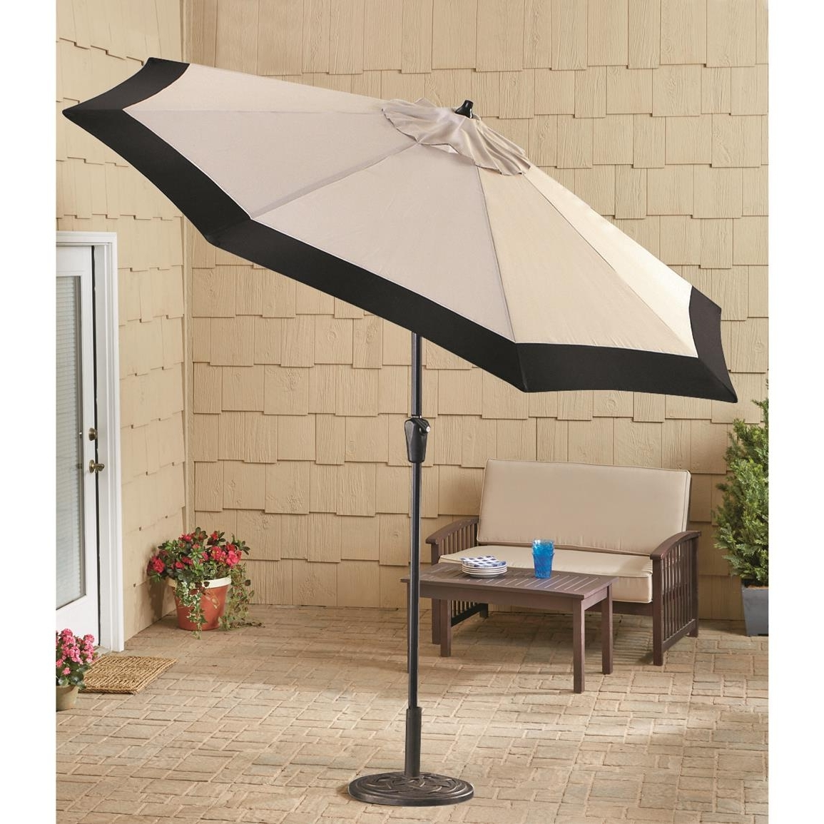 Well Known Castlecreek 9' Two Tone Deluxe Market Patio Umbrella, Khaki / Black With Deluxe Patio Umbrellas (View 15 of 20)
