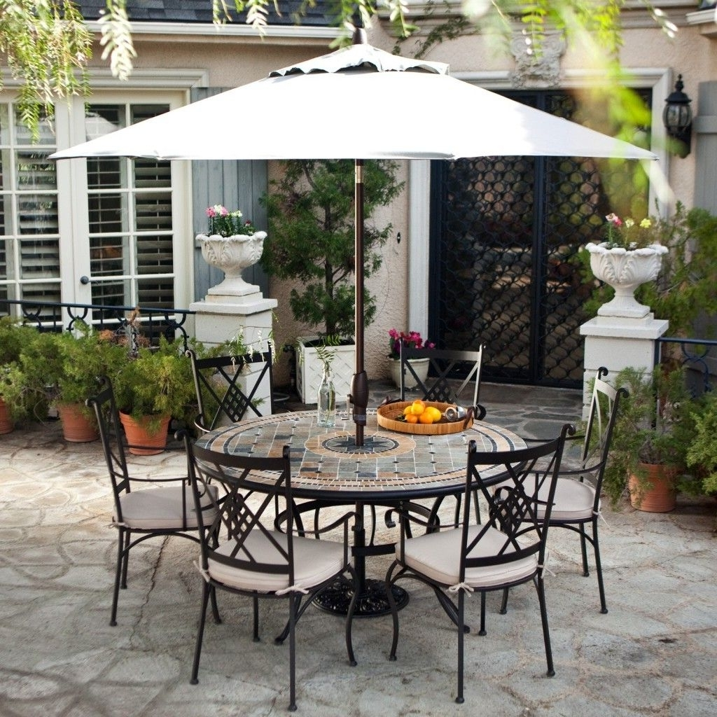 Well Known Enchanting Outdoor Patio Sets With Umbrella Above Round Table And 6 With Regard To Patio Furniture Sets With Umbrellas (View 17 of 20)
