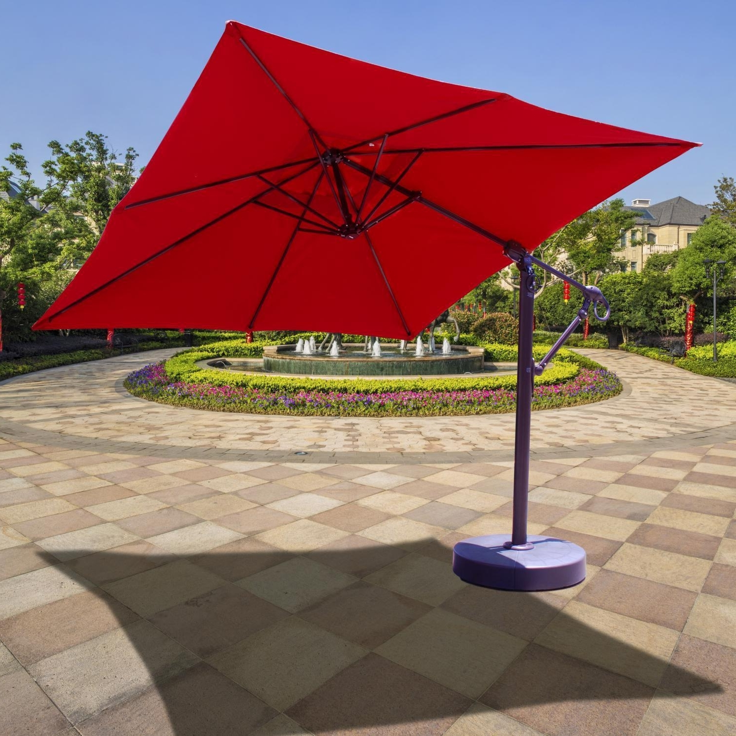 Well Known Galtech 10 Ft Aluminum Square Cantilever Patio Umbrella With Easy Pertaining To Cantilever Patio Umbrellas (View 16 of 20)