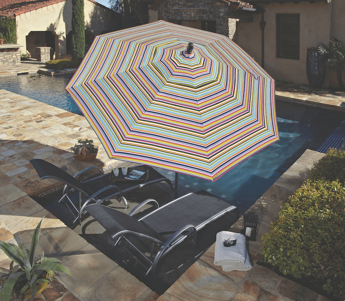 Well Known Made In The Shade: Patio Umbrellastreasure Garden – Kdrshowrooms With Regard To Striped Sunbrella Patio Umbrellas (View 12 of 20)