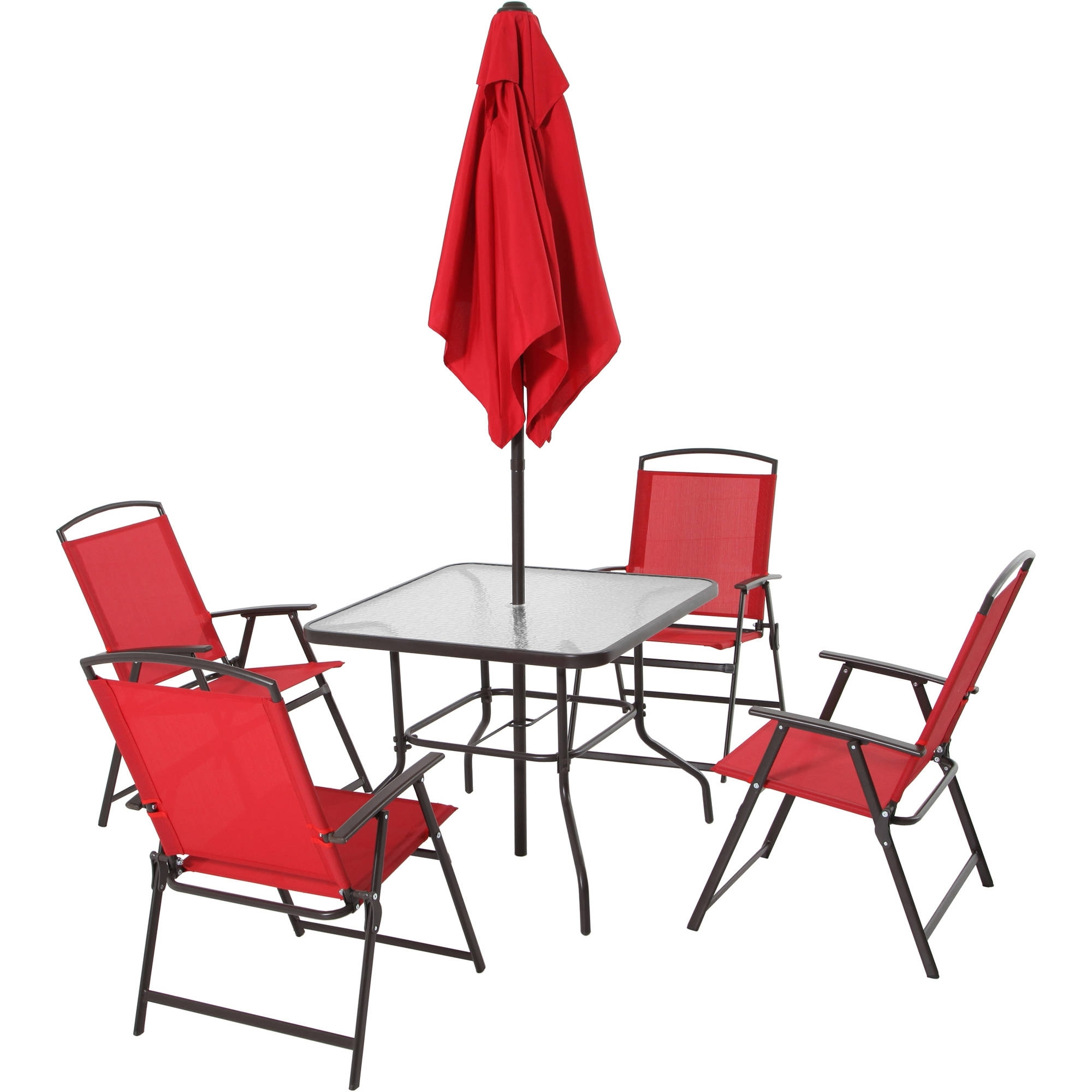 Well Known Mainstays Albany Lane 6 Piece Folding Dining Set, Multiple Colors Throughout Patio Table And Chairs With Umbrellas (View 19 of 20)