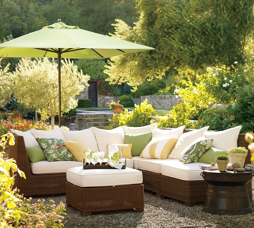 Well Known Outdoor Living Room Patio Ideas With Brown Painted Wooden Cheap With Regard To Yellow Sunbrella Patio Umbrellas (View 17 of 20)