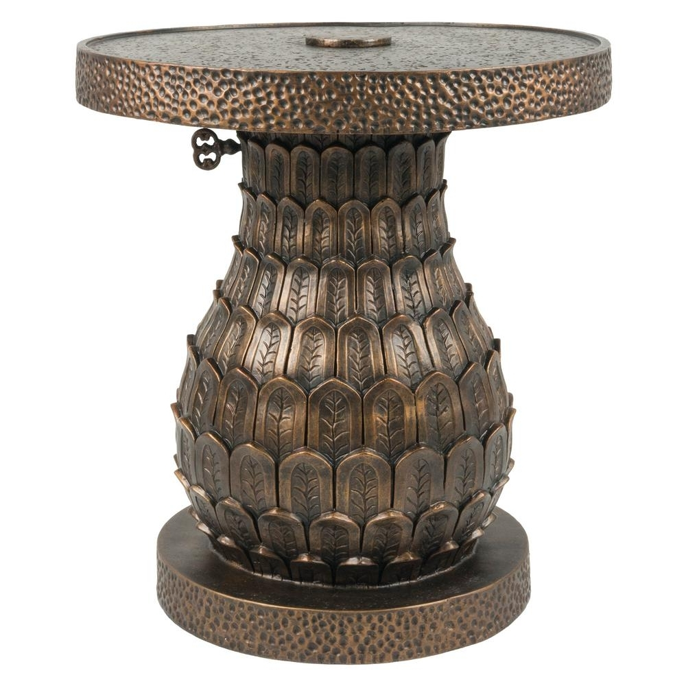 Well Known Patio Umbrella Side Tables Intended For Bombay Outdoors Pineapple Patio Umbrella Base In Distressed Gold (View 7 of 20)