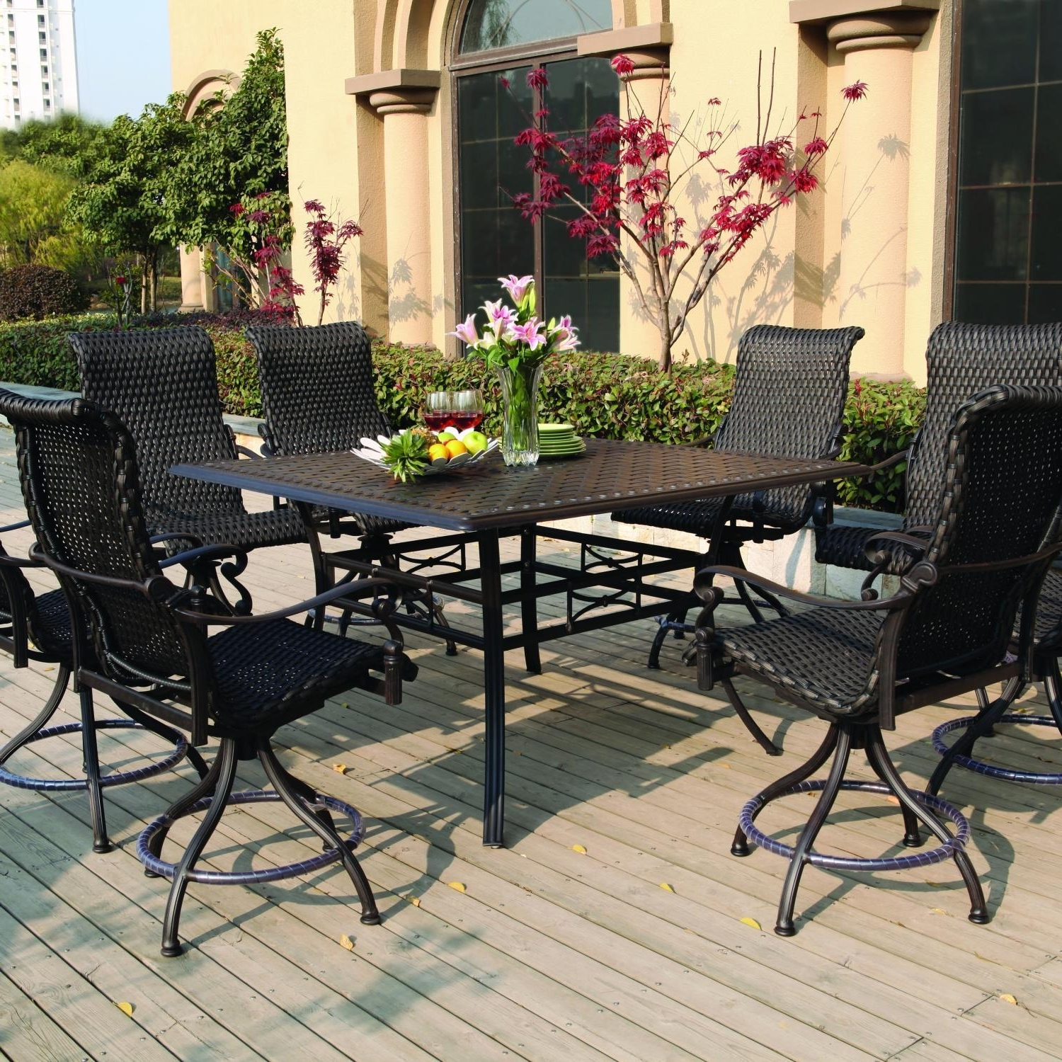Well Known Patio Umbrellas For Bar Height Tables With Regard To Darlee Victoria 9 Piece Resin Wicker Counter Height Patio Dining Set (View 12 of 20)