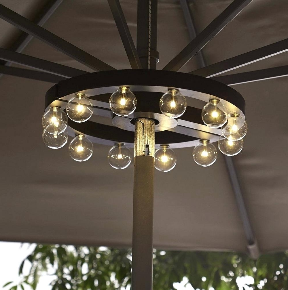 Well Known Patio Umbrellas With Solar Lights Regarding Patio Umbrella Solar Lights Light Kit Not Working Offset (View 9 of 20)