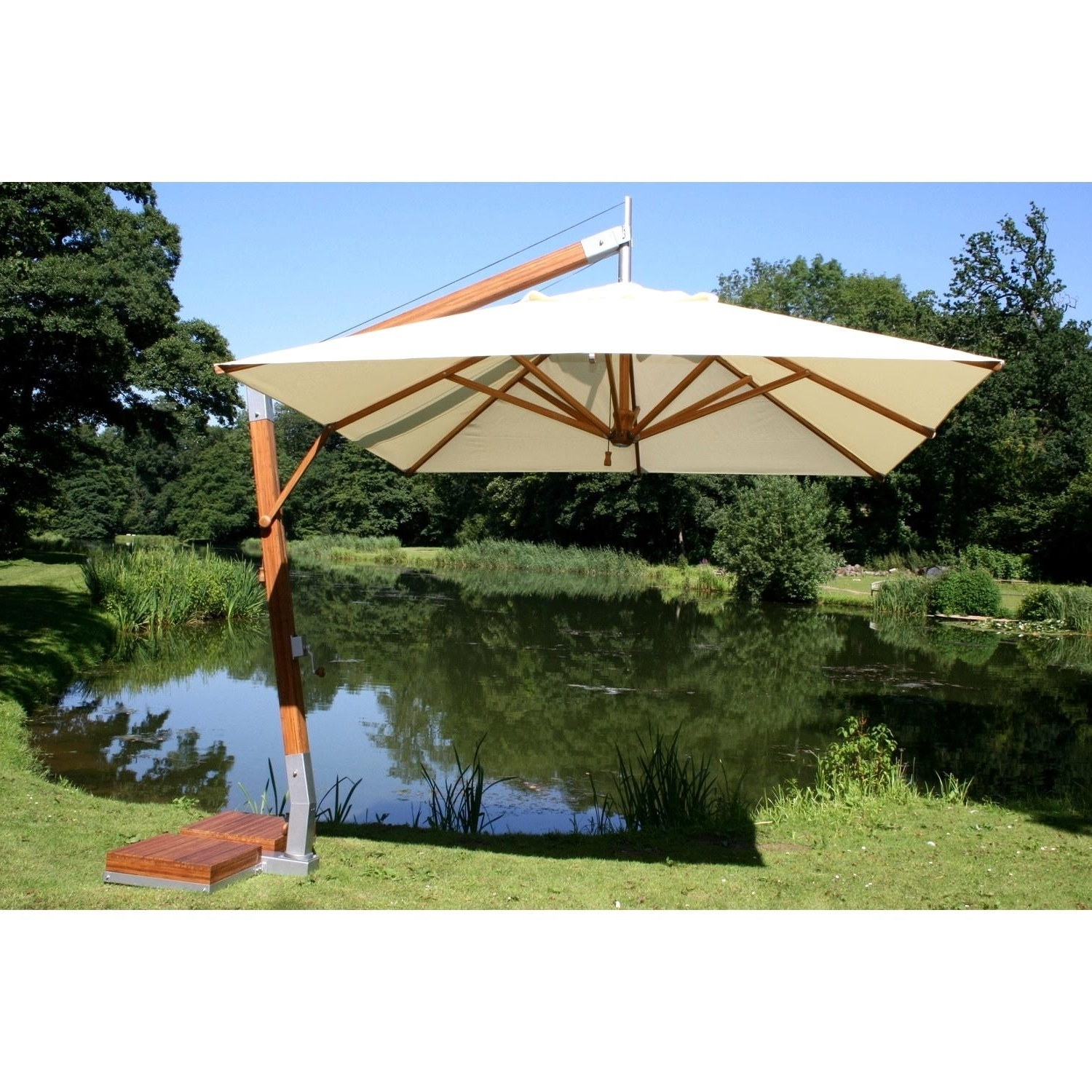Well Known Rectangular Offset Patio Umbrellas Within Awesome Bamboo Cantilever Umbrella Patio Umbrellas Set Umbrella (View 20 of 20)