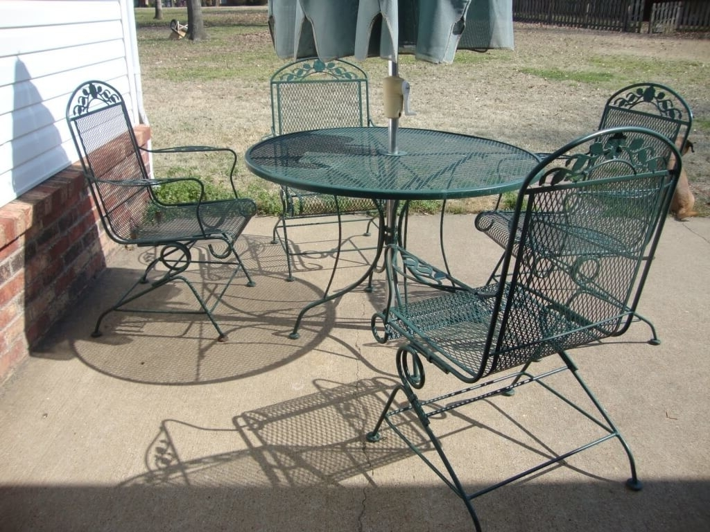 Well Known Vintage Patio Umbrellas For Sale Inside Furniture: 4 Piece Wrought Iron Woodard Patio Furniture With (View 18 of 20)