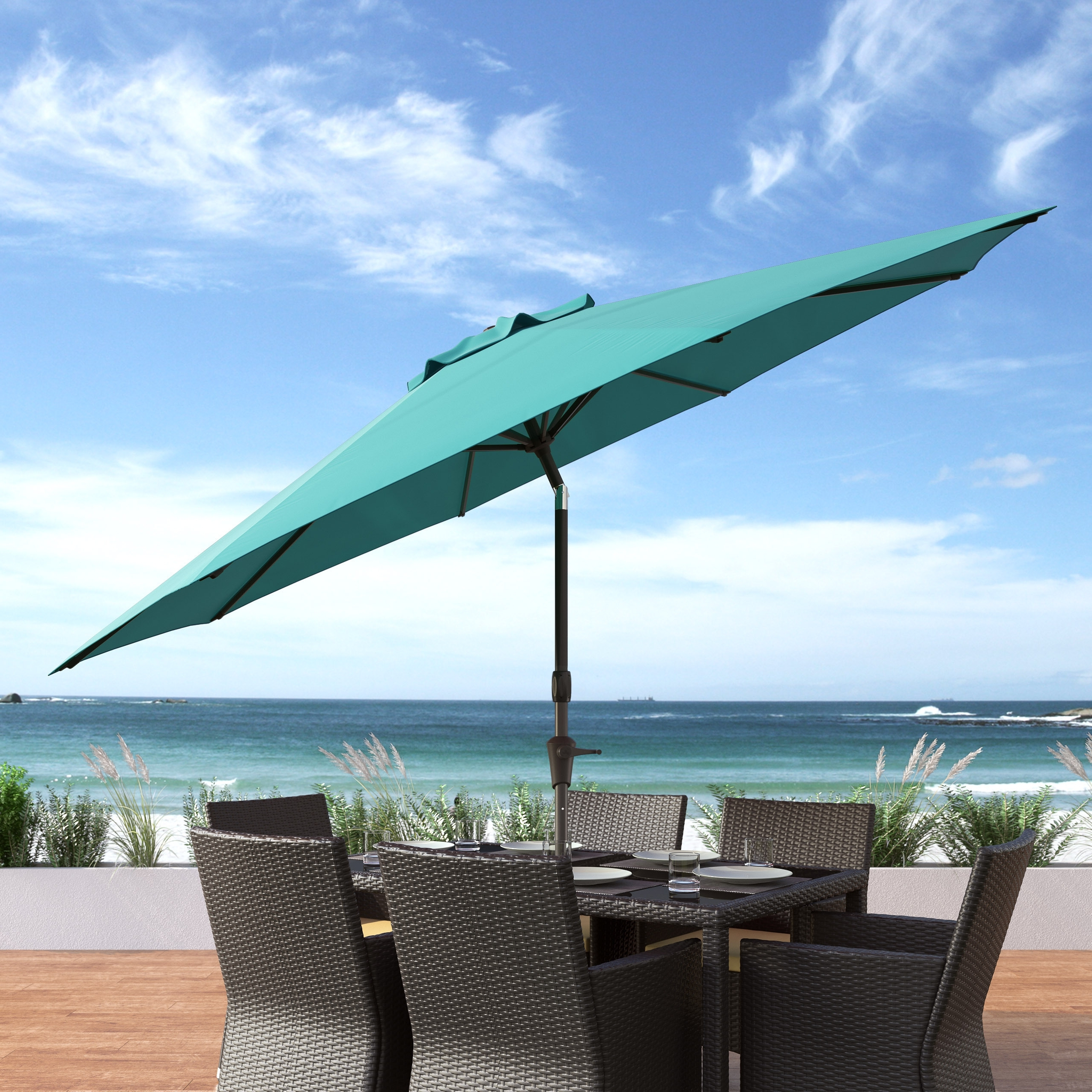 Well Known Wind Resistant Patio Umbrellas Regarding Shop Corliving Uv And Wind Resistant Tilting Patio Umbrella – Free (View 16 of 20)