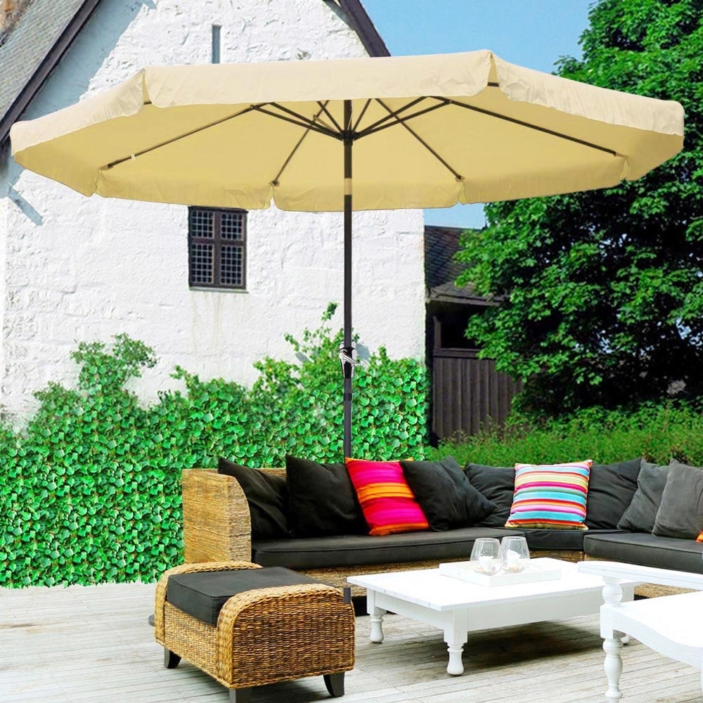 Well Liked 10Ft Aluminum Outdoor Patio Umbrella Yard Garden Market W/valance With Patio Umbrellas With Valance (View 18 of 20)