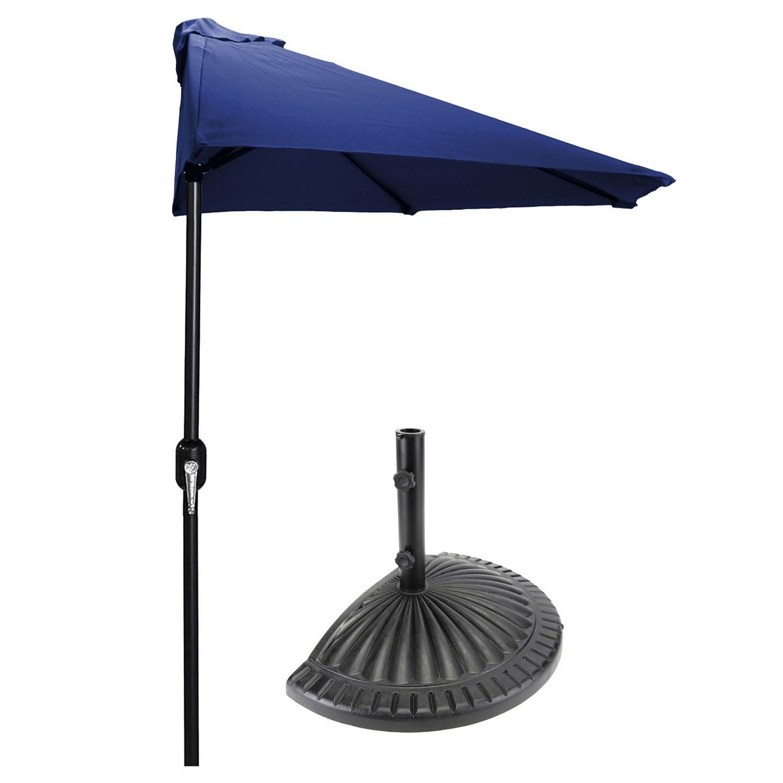 Well Liked Half Patio Umbrellas Pertaining To Patio Half Umbrella 9 Ft. Diam (View 20 of 20)