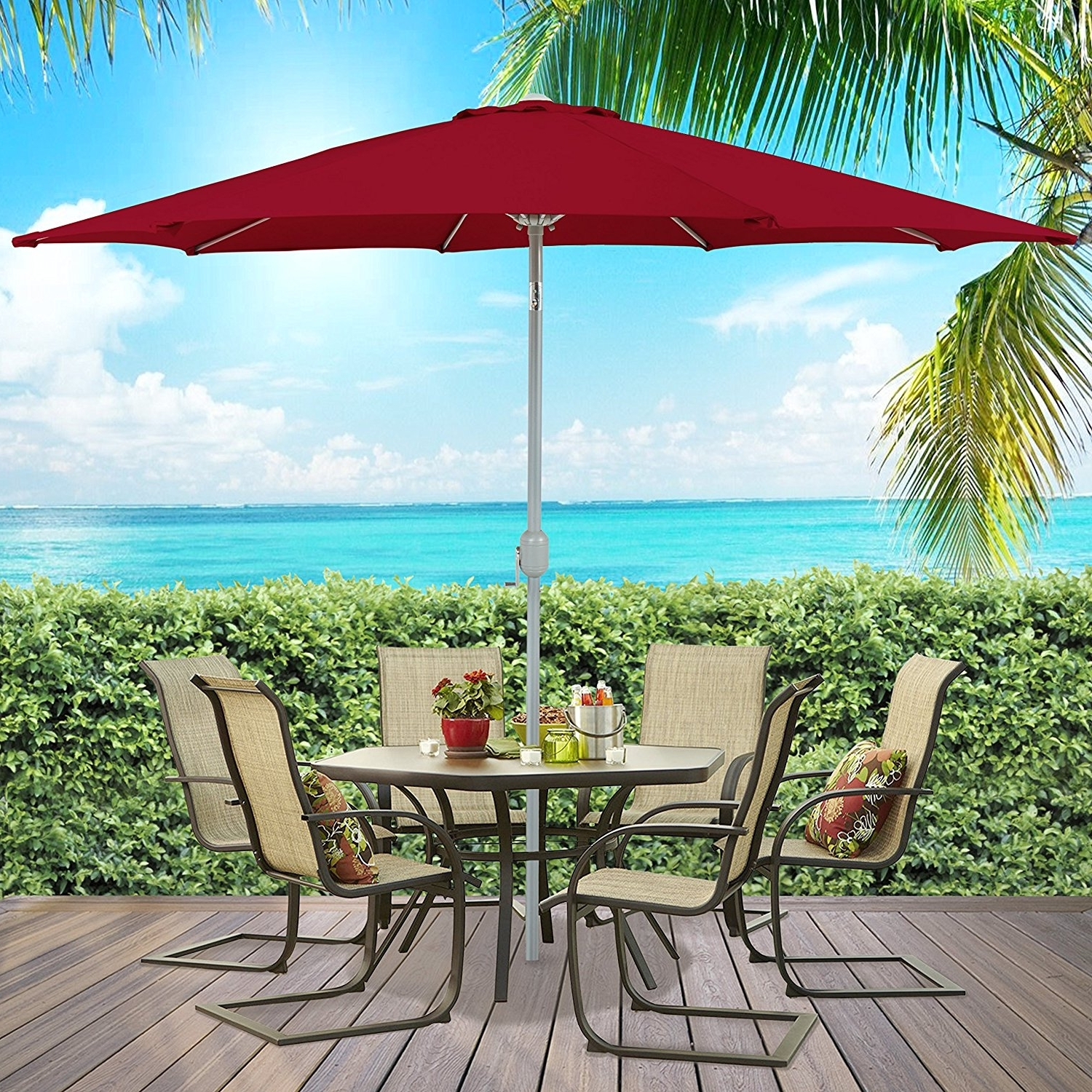 Well Liked Ktaxon 9 Ft Outdoor Patio Yard Umbrella Aluminum Beach Sunshade Pertaining To Walmart Umbrellas Patio (View 15 of 20)