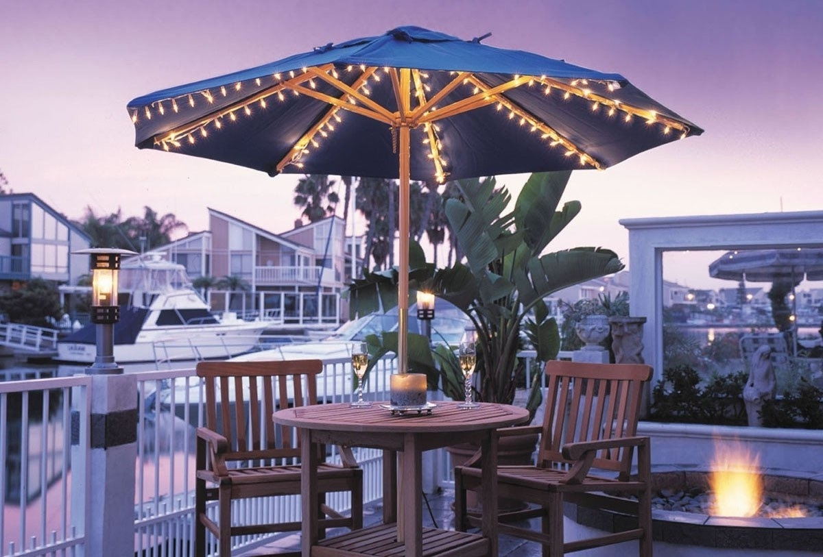 Well Liked Lighted Umbrellas For Patio With Regard To Lighted Patio Umbrella Providing An Amusing Nuance (View 11 of 20)