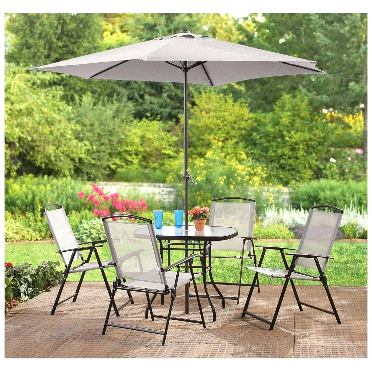 Well Liked Patio Furniture Dining Set Sets Walmart Sale Outdoor With Umbrella In Patio Dining Sets With Umbrellas (View 16 of 20)