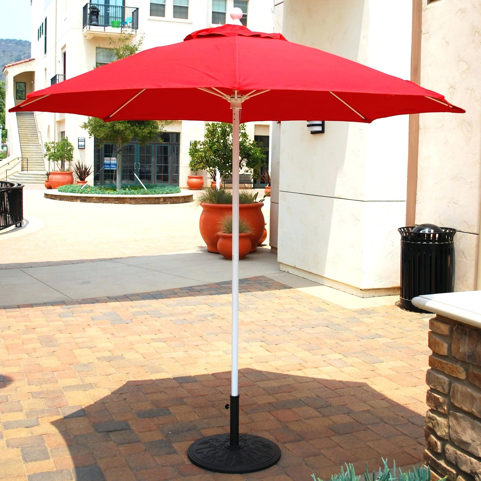 Well Liked Patio Umbrellas With White Pole Throughout Patio Ideas ~ Enchanting Red Square Modern Fabric Big Patio Umbrella (View 16 of 20)