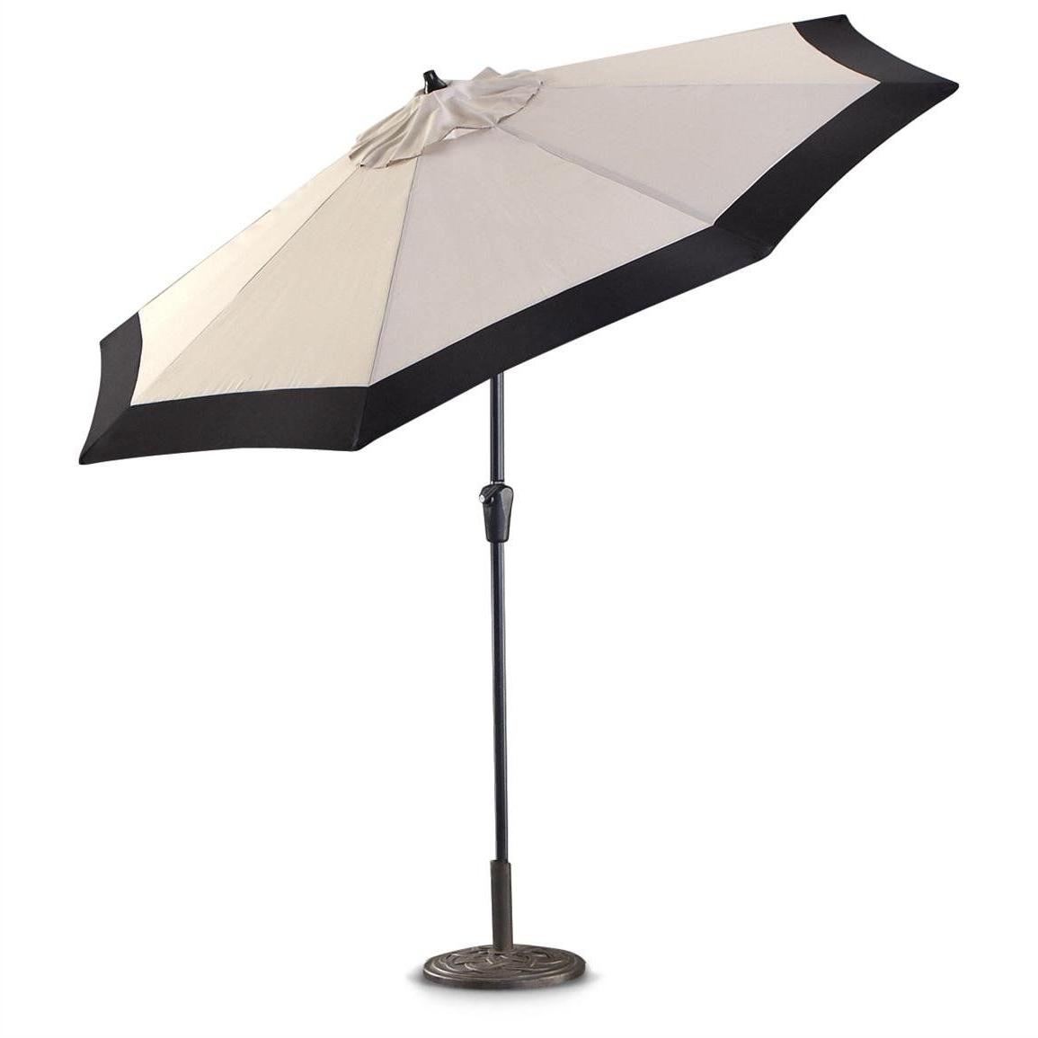 White Patio Umbrellas #5: Castlecreek 9 Two Tone Deluxe Market Patio Throughout Recent Deluxe Patio Umbrellas (View 18 of 20)