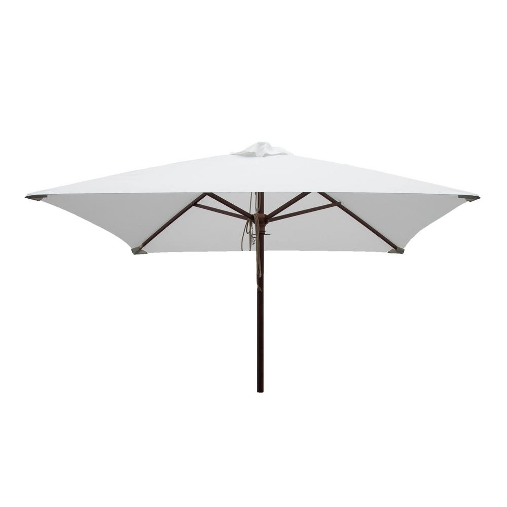White Patio Umbrellas For Current Square White Patio Umbrella Pulley Pin Uv Resistant Market Hardwood (View 11 of 20)