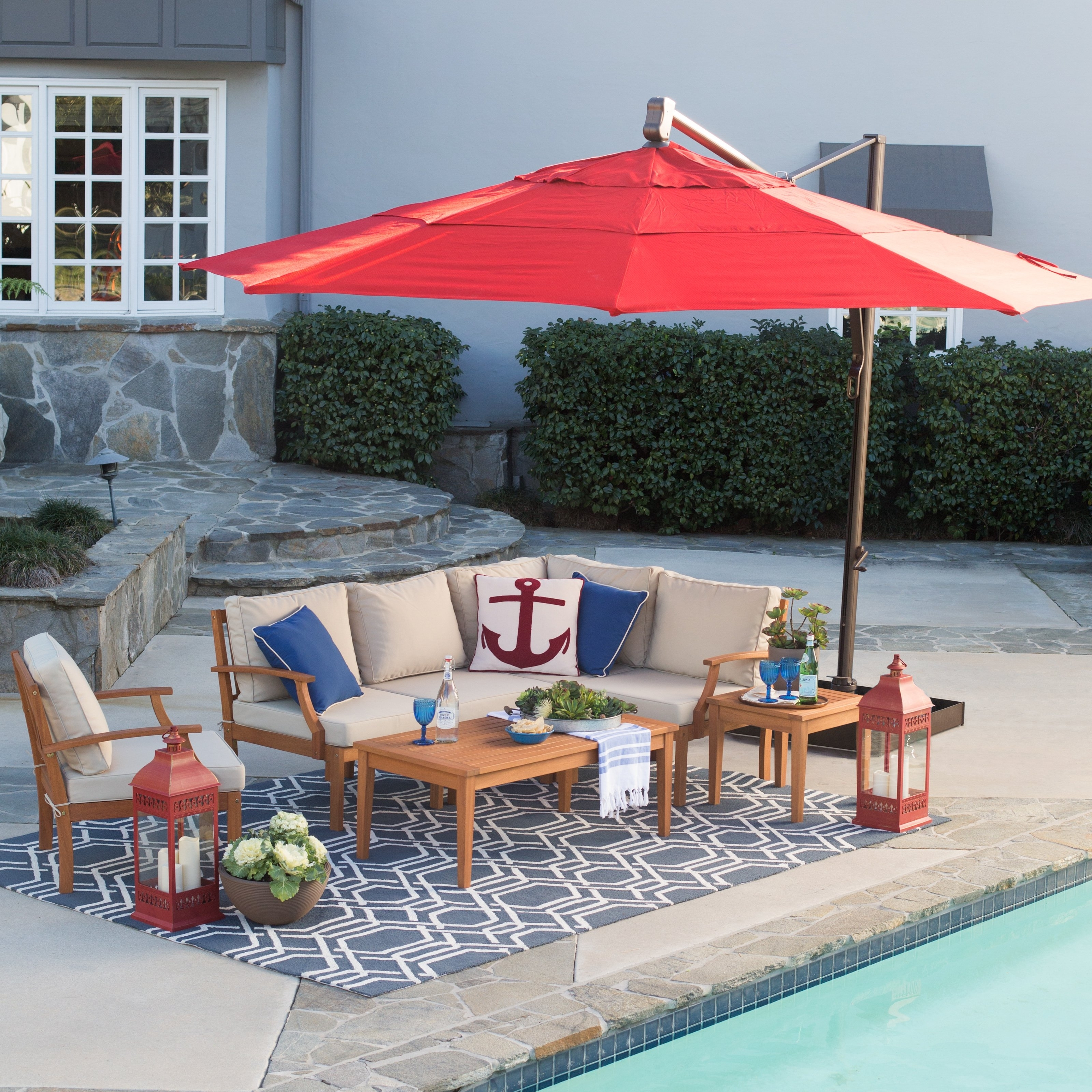Widely Used Coral Coast Square Offset Patio Umbrella Master Swing Arm Porch Within Coral Coast Offset Patio Umbrellas (View 20 of 20)