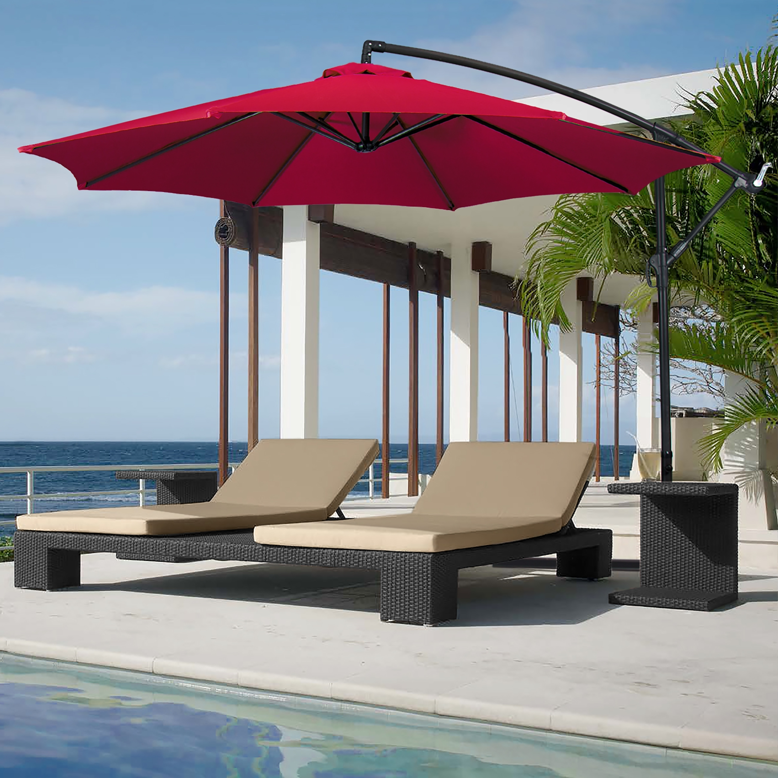 Widely Used Costway 9Ft Patio Solar Umbrella Led Patio Market Steel Tilt W Intended For Hanging Patio Umbrellas (View 20 of 20)