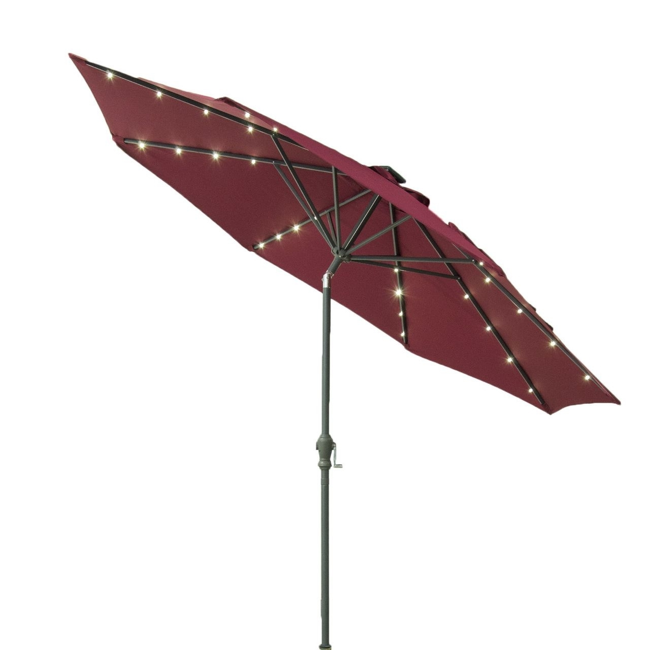 Widely Used Lighted Umbrellas For Patio Throughout Casun Garden 9Ft Solar Powered Led Lighted Outdoor Patio Aluminum (View 20 of 20)