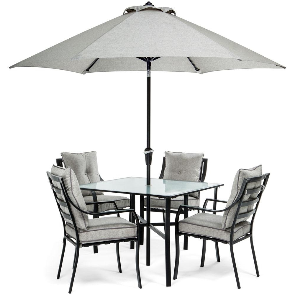 Widely Used Patio Dining Sets With Umbrellas Inside Hanover Lavallette Black Steel 5 Piece Outdoor Dining Set With (View 19 of 20)