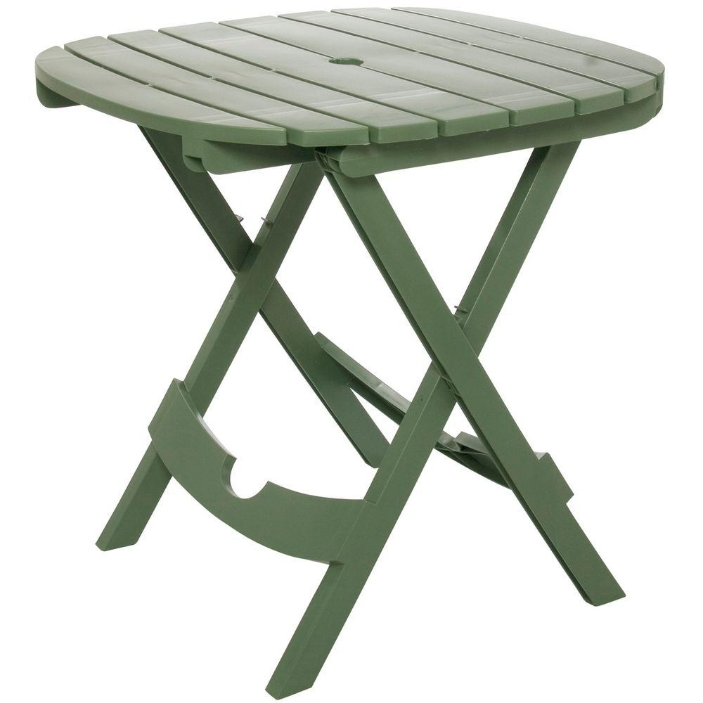 Widely Used Patio Tables With Umbrella Hole Inside Adams Manufacturing Quik Fold Sage Resin Plastic Outdoor Cafe Table (View 20 of 20)