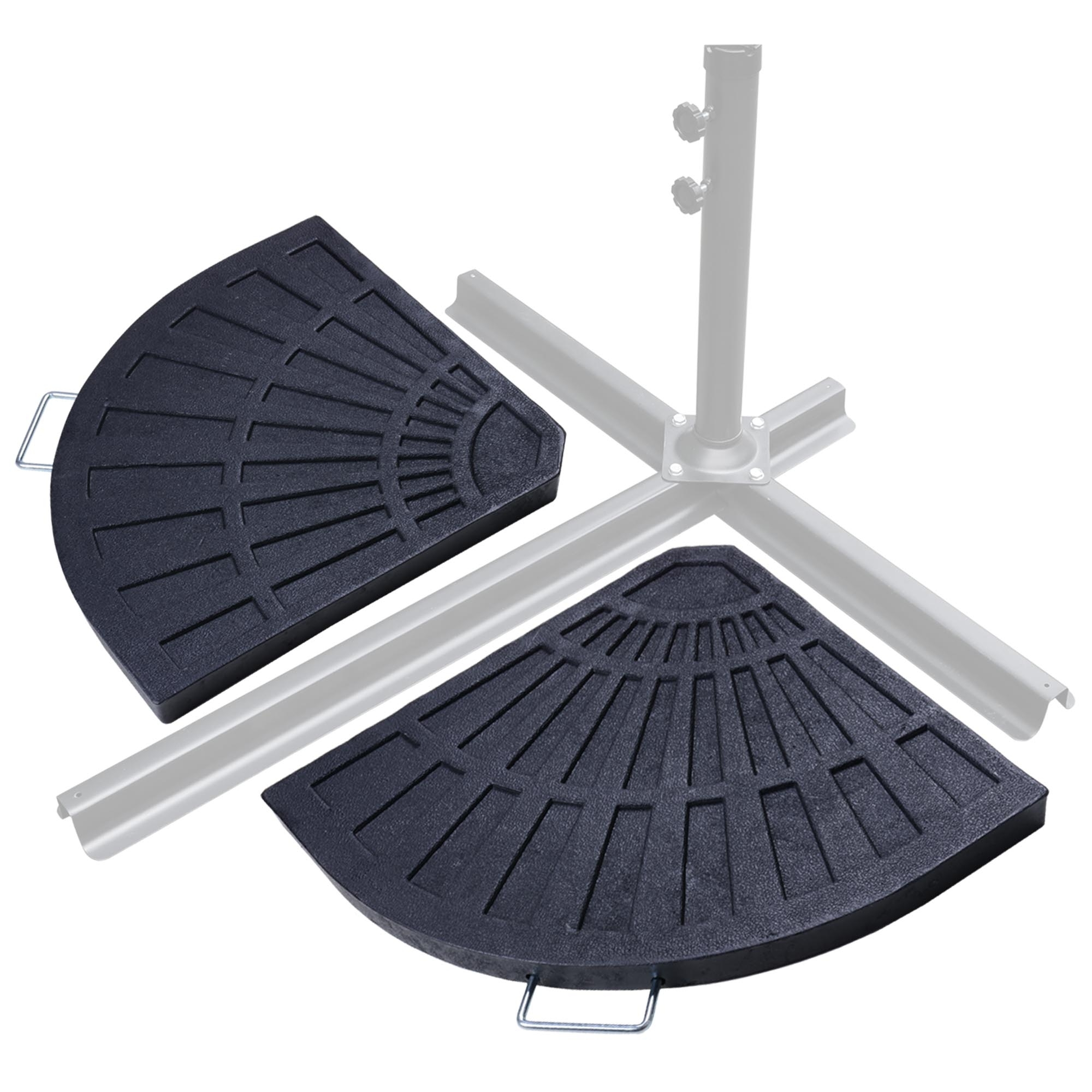 Widely Used Patio Umbrellas And Bases Throughout Patio Outdoor 2 Piece Cantilever Offset Umbrella Base Stand Fan (View 9 of 20)