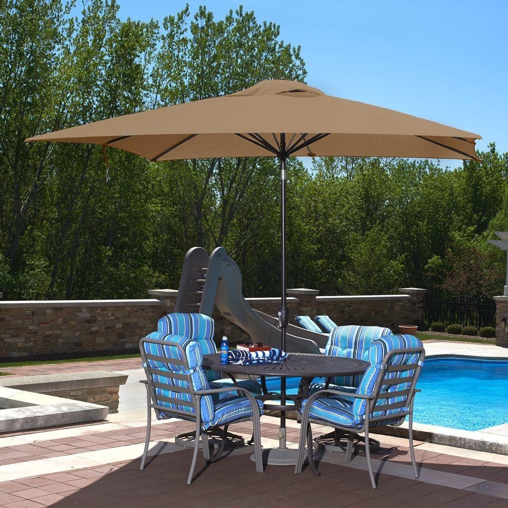 Widely Used Sunbrella Patio Umbrellas With Solar Lights With Rectangle – Market Umbrellas – Patio Umbrellas – The Home Depot (View 8 of 20)