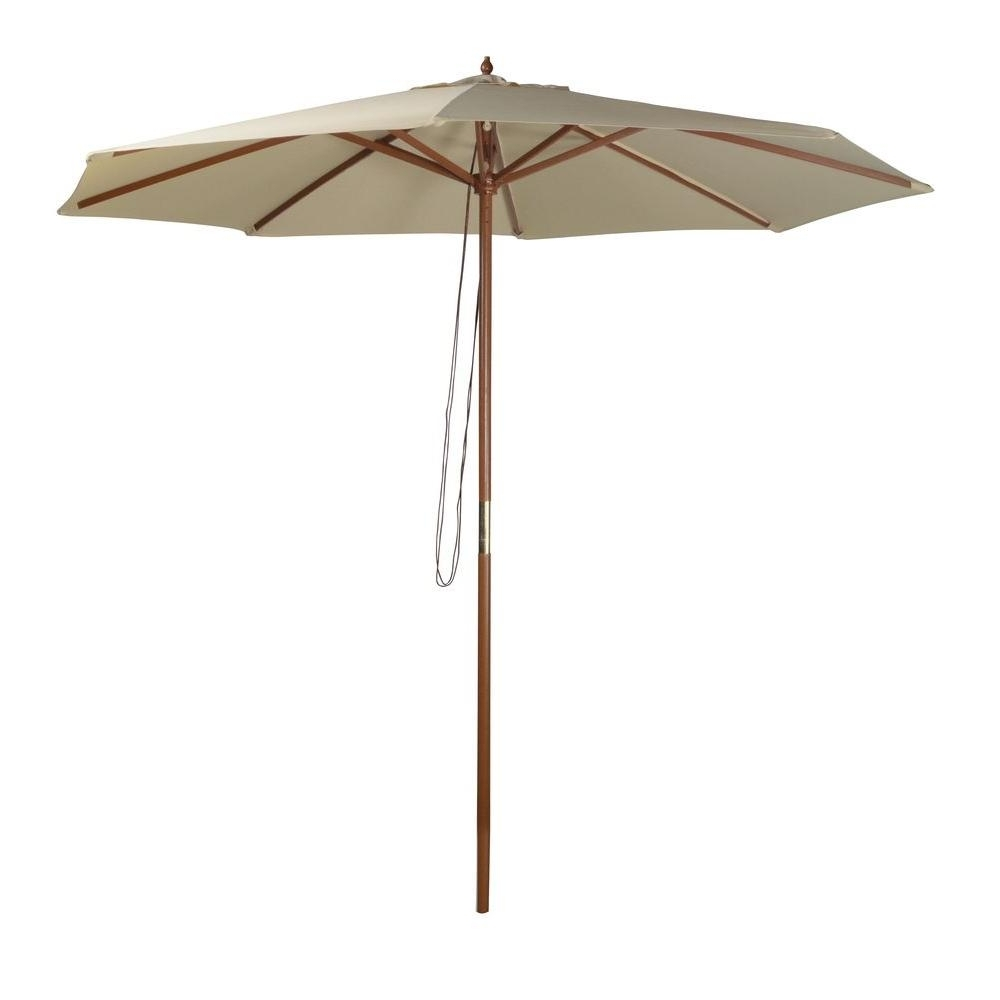 Wooden Patio Umbrellas In Famous Wood – Market Umbrellas – Patio Umbrellas – The Home Depot (View 16 of 20)