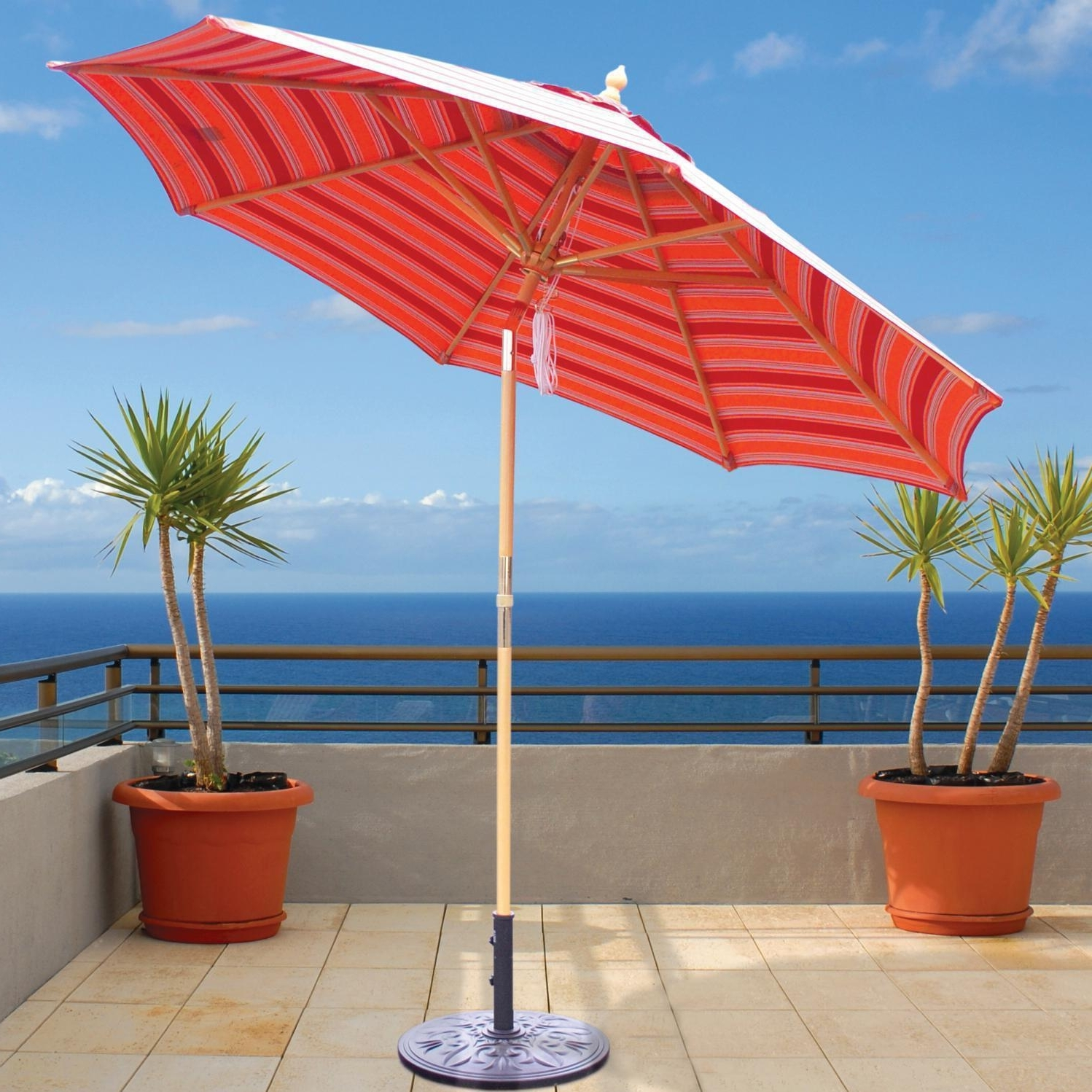 Wooden Patio Umbrellas In Well Known Galtech 9 Ft Wood Patio Umbrella With Crank Lift And Rotational Tilt (View 18 of 20)